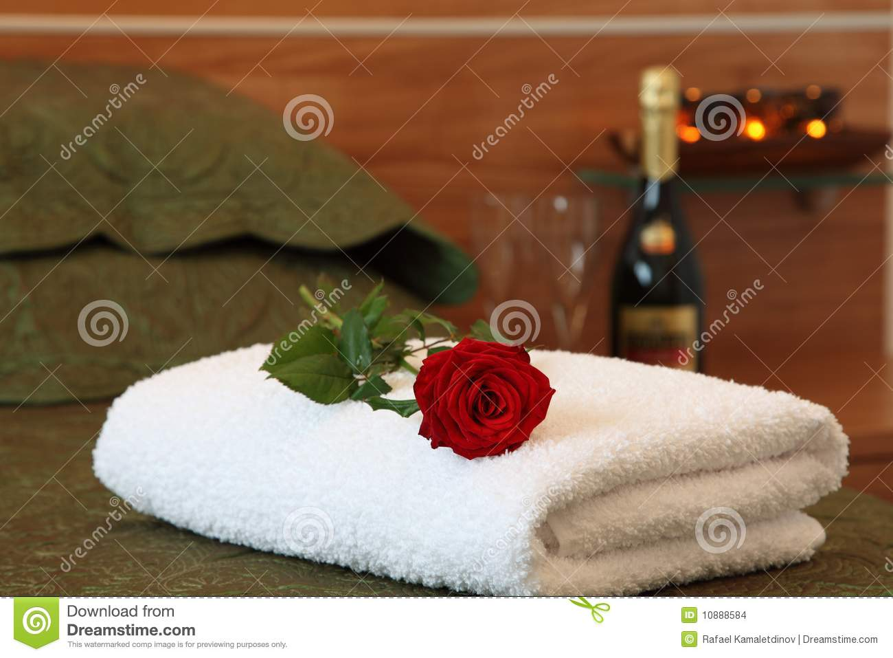 Modern hotel room interior stock photo image 18197840 - Hotel Room With Rose On Bed Stock Images