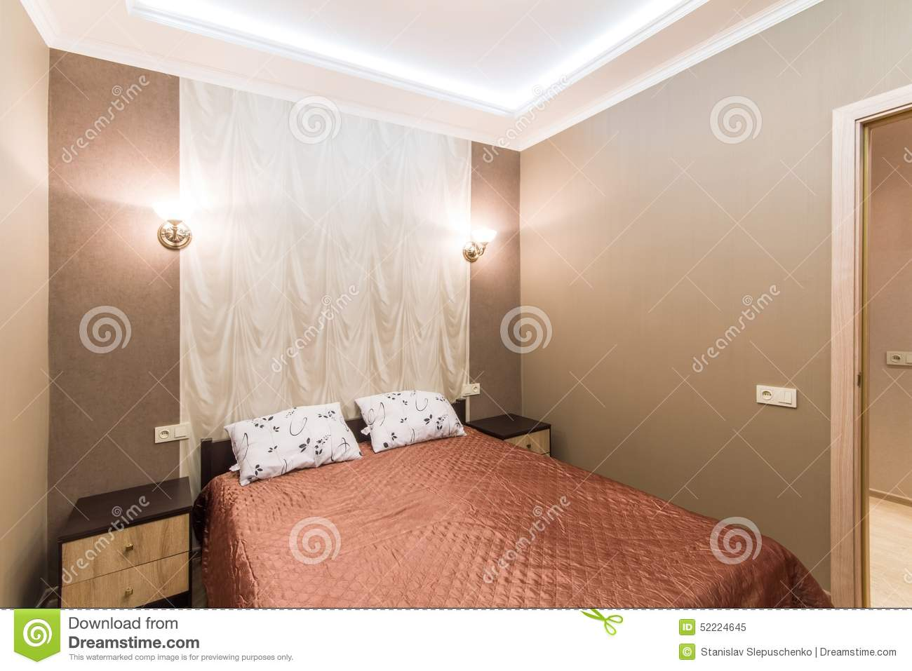 Small Bedroom With Double Bed hotel room. small bedroom with double bed stock photo - image