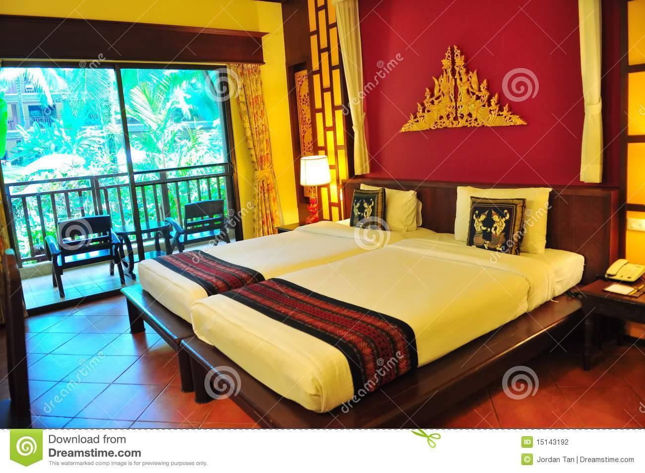 Hotel room with twin beds