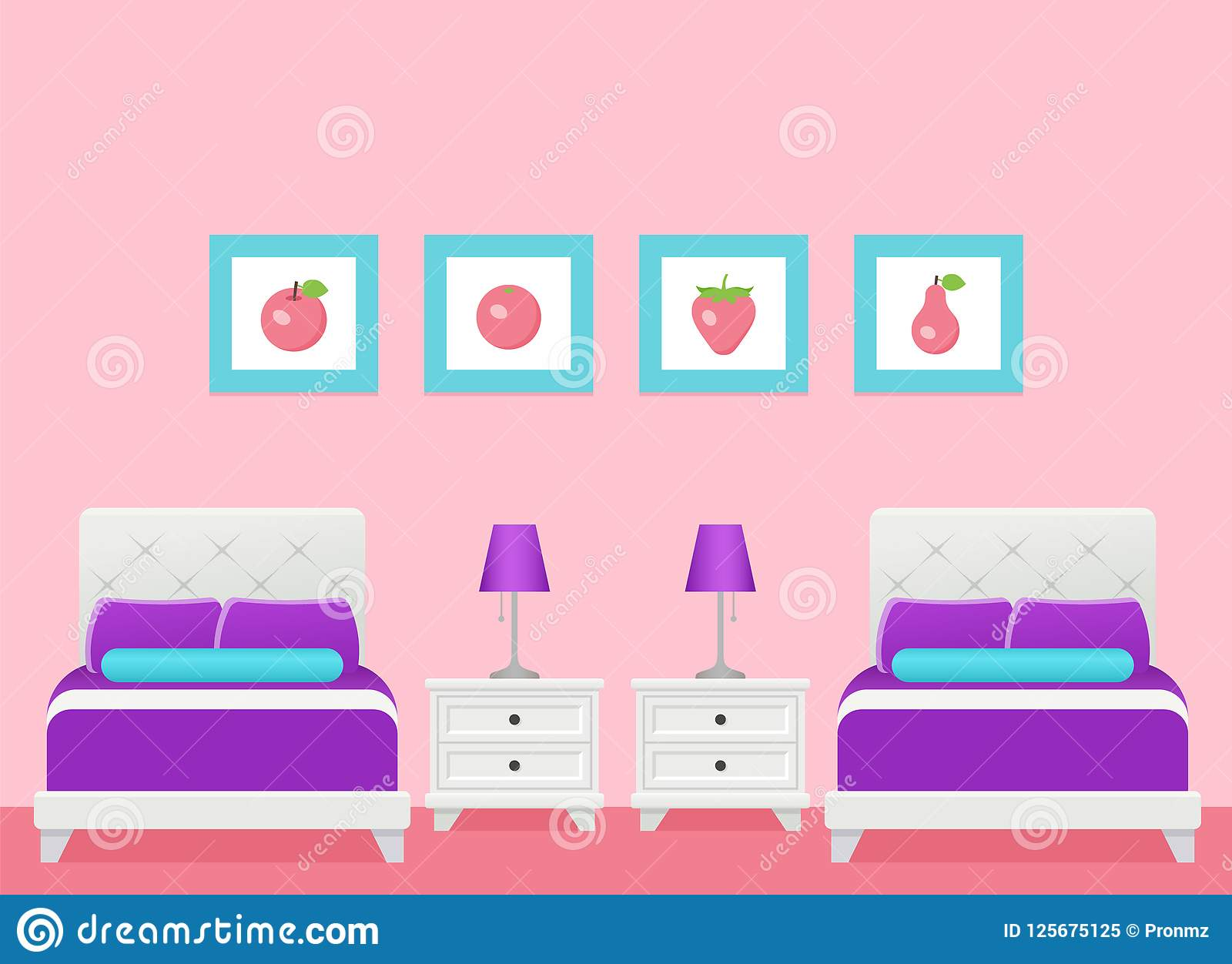 Hotel Room Interior With Two Beds Bedroom Vector Illustration