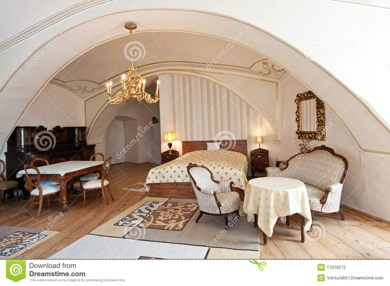 Interior Of Luxury Hotel Room In Vintage Style Stock