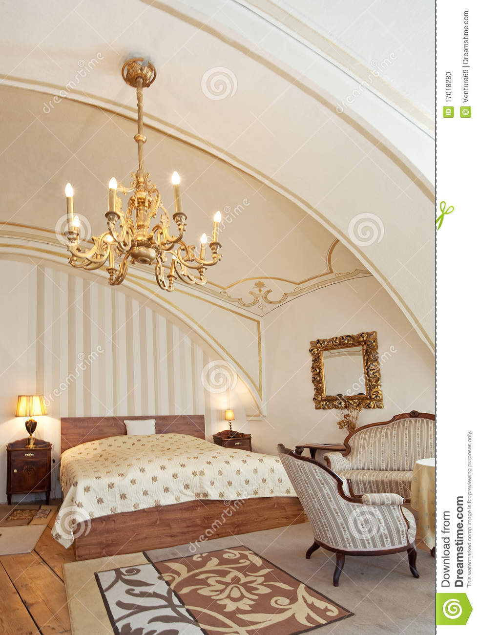 Hotel Room In Vintage Style Stock Photo