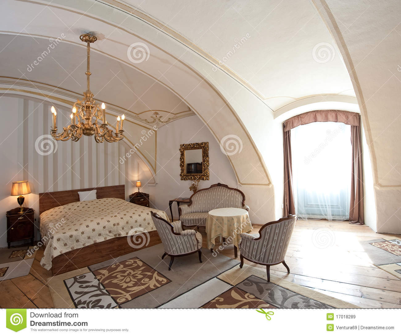 Fashion Inspired Guest Room: Hotel Room In Vintage Style Royalty Free Stock Images