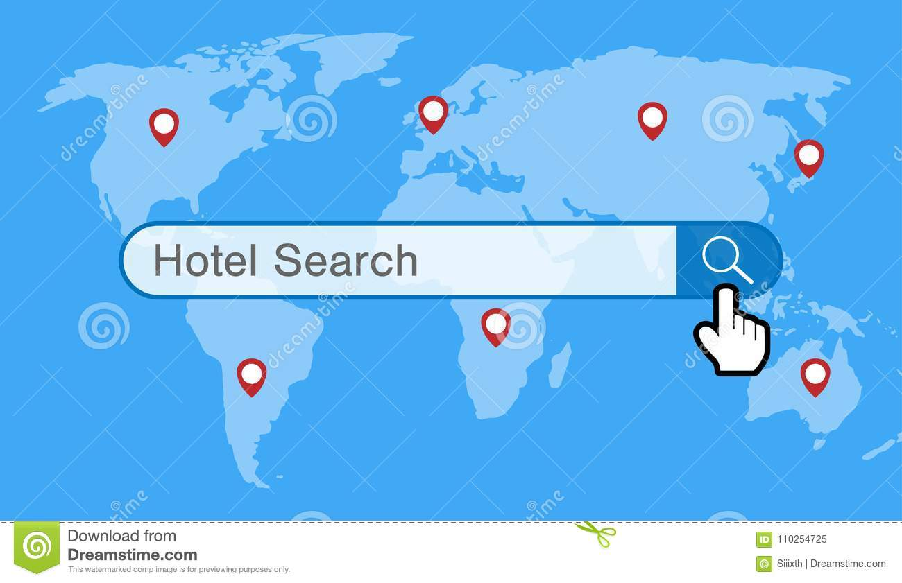 Hotel search engine with world map and gps icon stock vector hotel search engine with world map and gps icon gumiabroncs Image collections