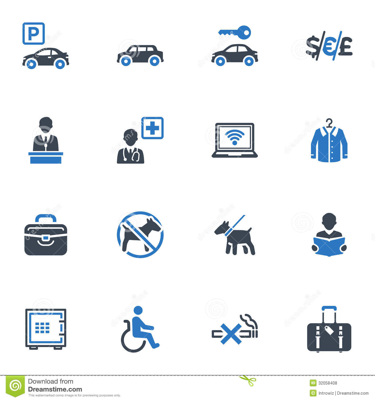 Hotel Services And Facilities Icons Set 1 Blue Stock