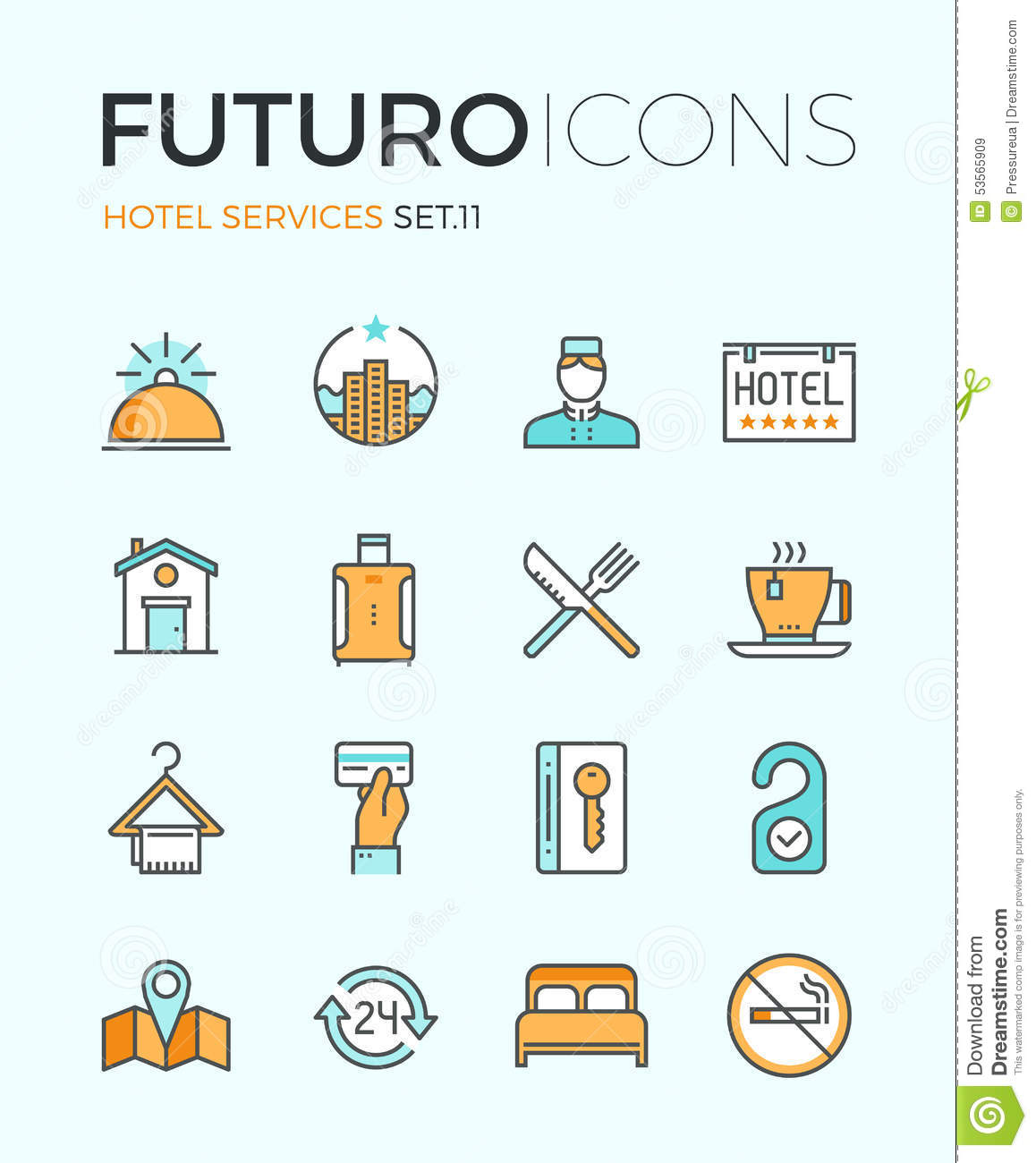 Services: Hotel Services Futuro Line Icons Stock Vector
