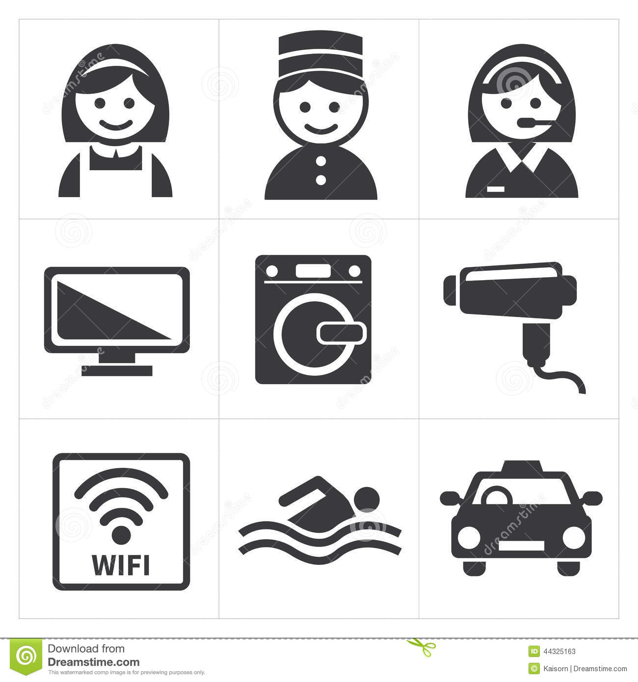 hotel services icon set stock vector
