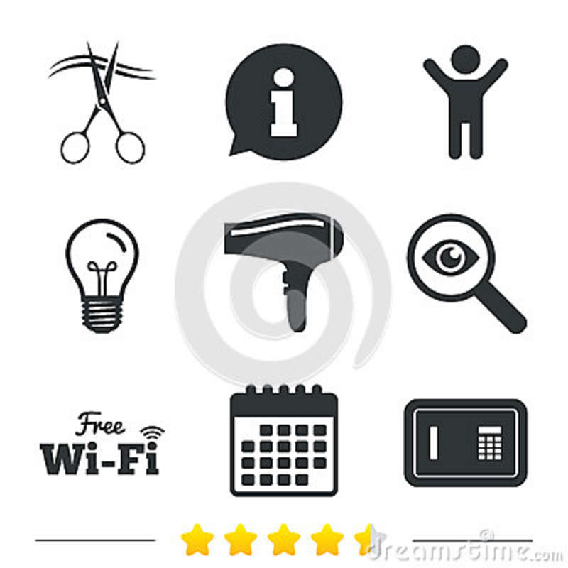 Hotel Services Icon Wi Fi Hairdryer And Safe Stock Vector