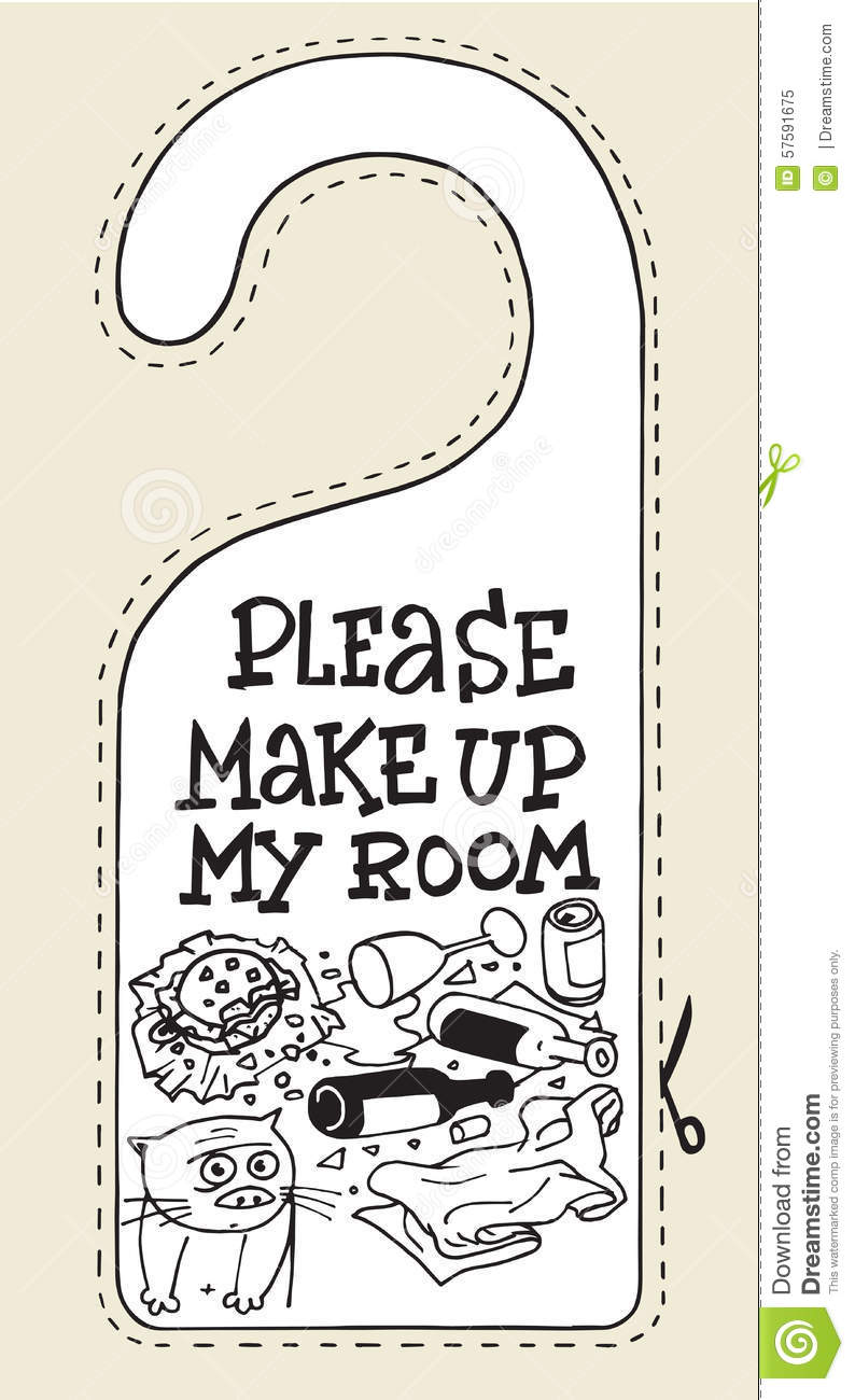 Hotel Sign Cat Please Make Up My Room Stock Vector Image