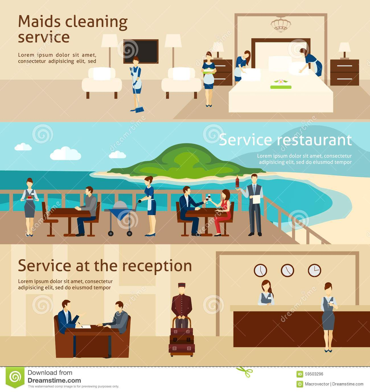 Hotel Housekeeping Services: Hotel Staff Flat Vector Illustration