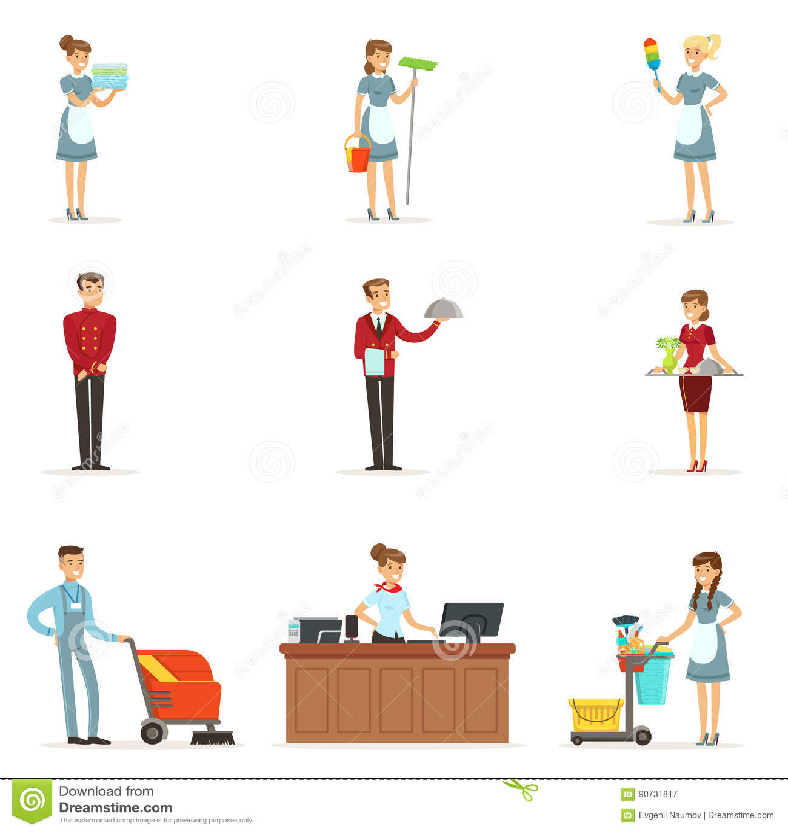 Restaurant Kitchen Manager Job Description: Set Of Man Restaurant Staff Vector Illustration