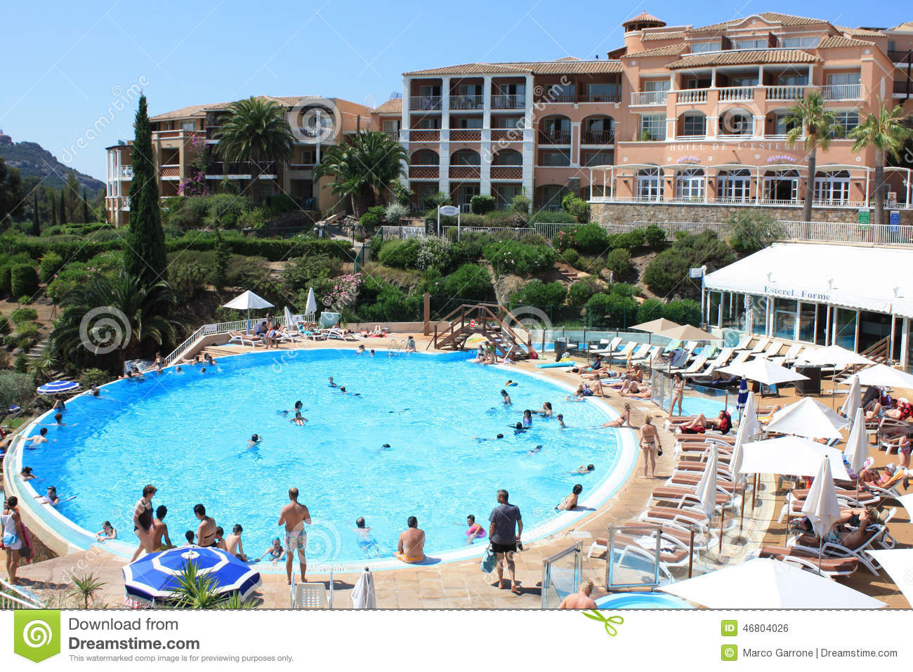 Hotel pool with people  Hotel With Swimming Pool At French Riviera Editorial Photo - Image ...