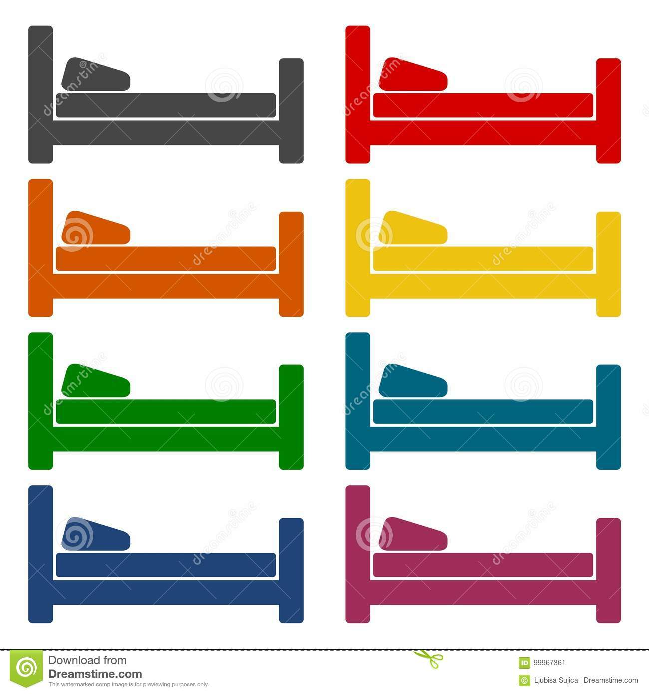 Hotel symbol, hospital bed, The bed icons set