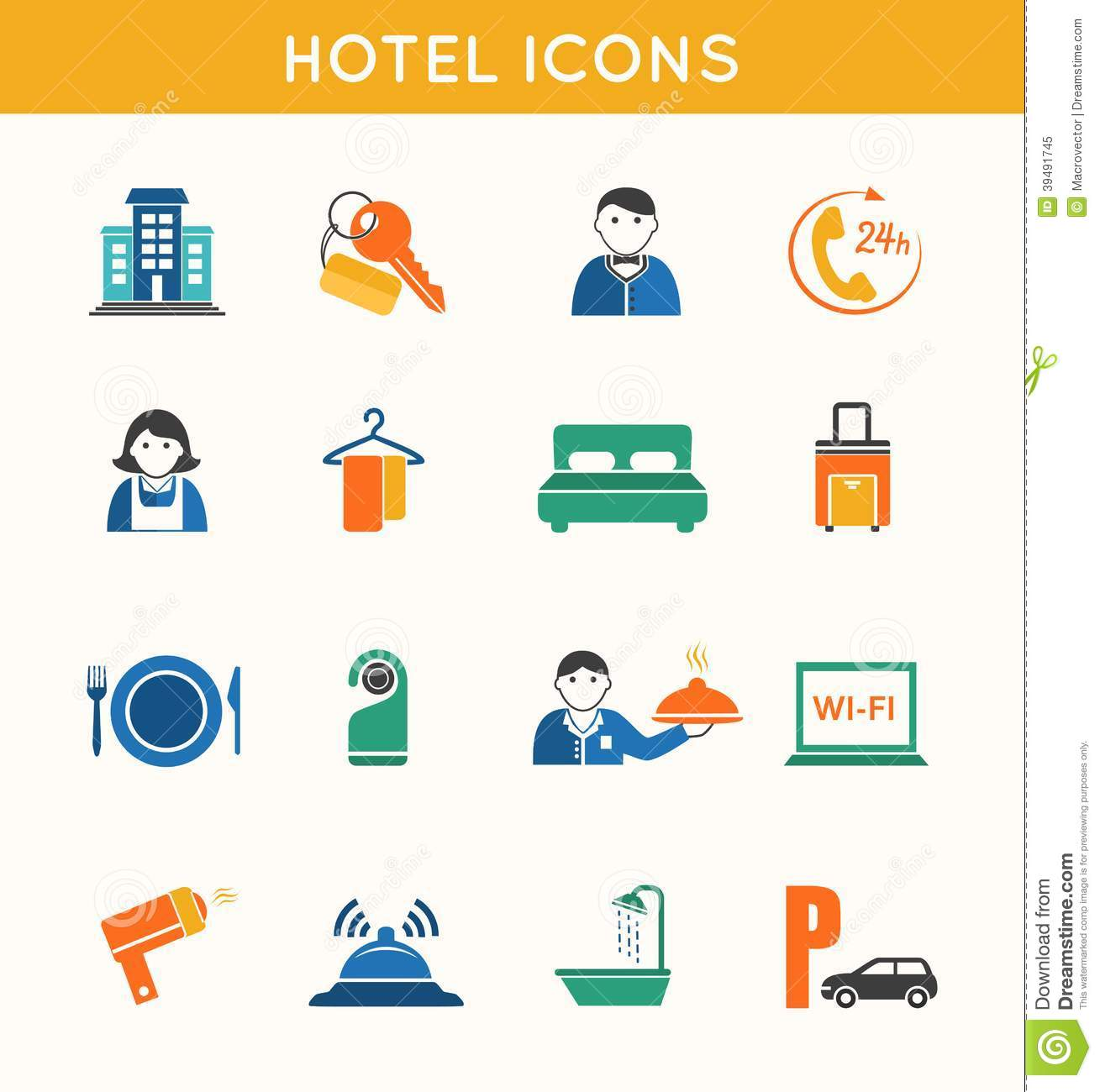 Hotel Travel Flat Icons Set Stock Vector Image 39491745