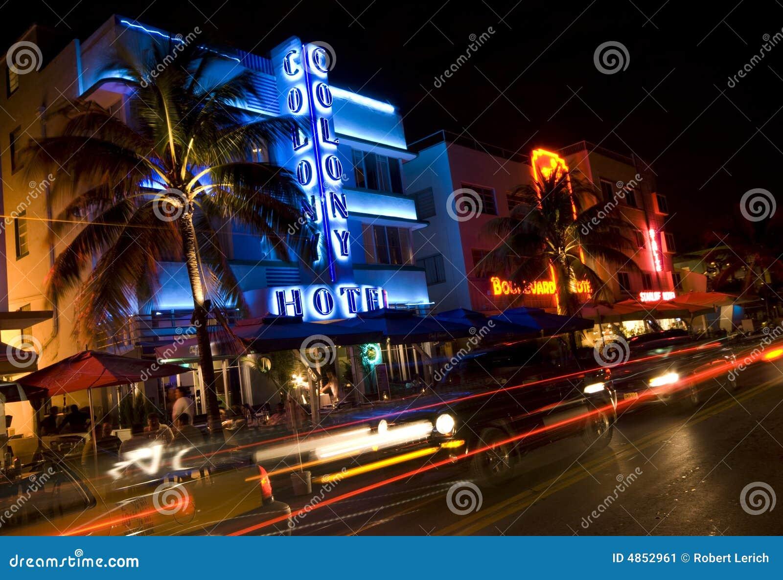 Hotel w Miami przewieziesz nocy scena oceanu
