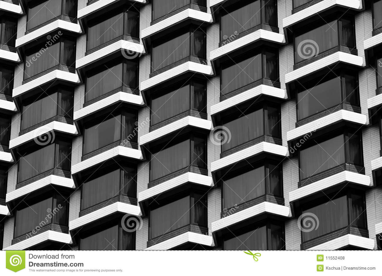 Hotel Windows Black Amp White Royalty Free Stock Photos