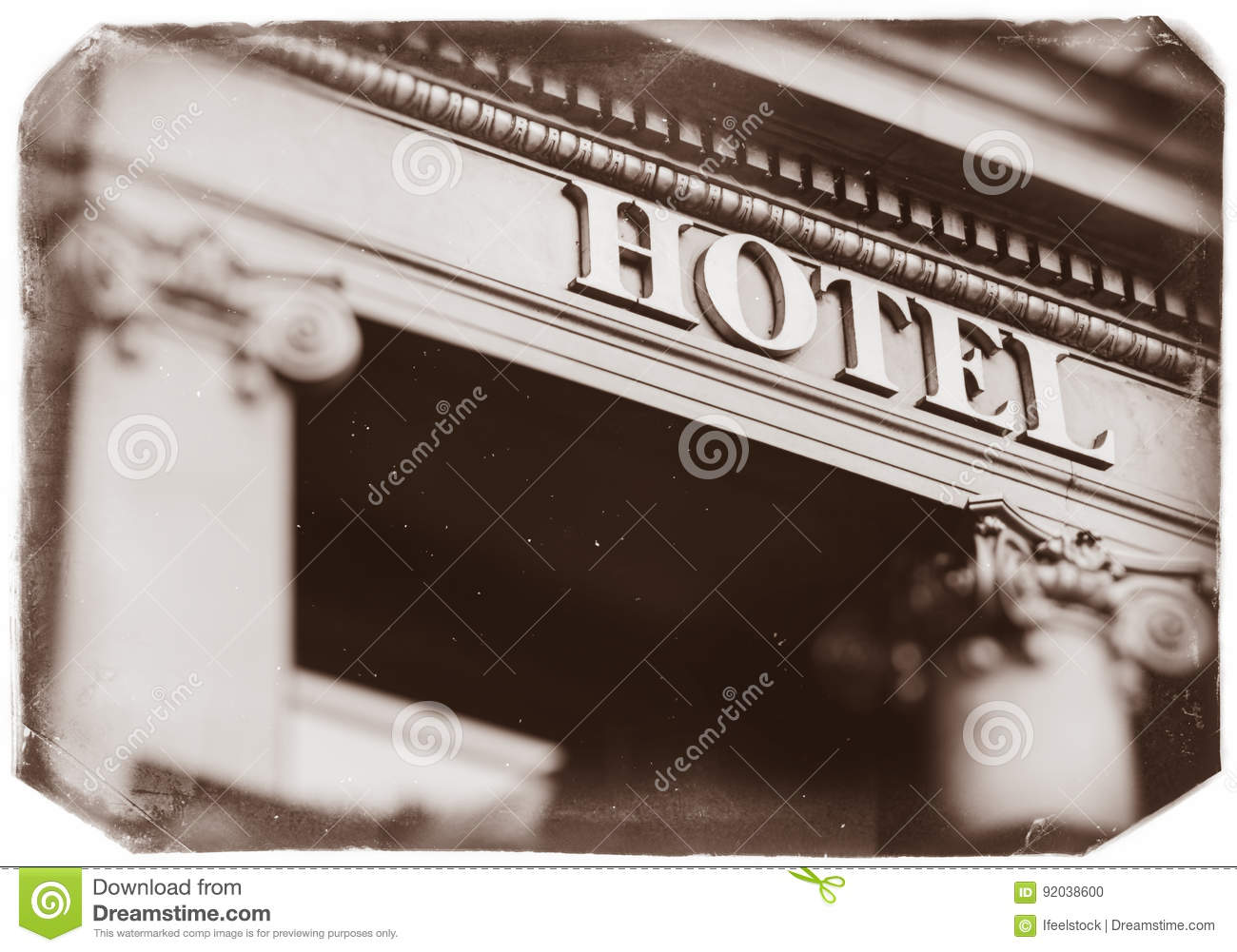 Hotel Word With Majestic Letters Five Star Vintage Stock