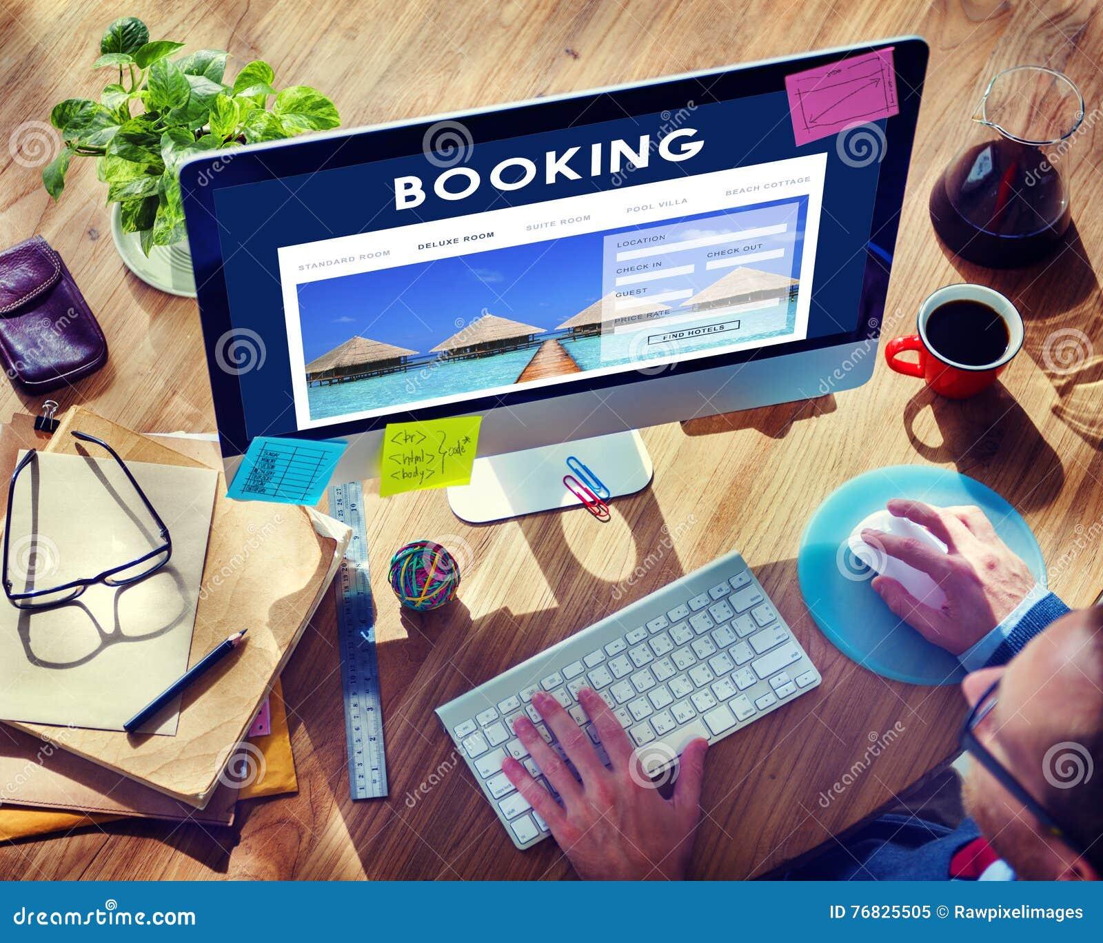 Hotelbuchungs-Reservierungs-Reise-Aufnahme-Konzept