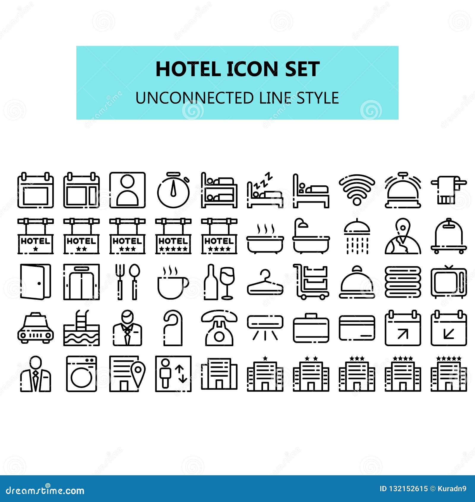 Hotellsymbolen ställde in i PIXEL perfekt osammanhängande linje symbolsstil