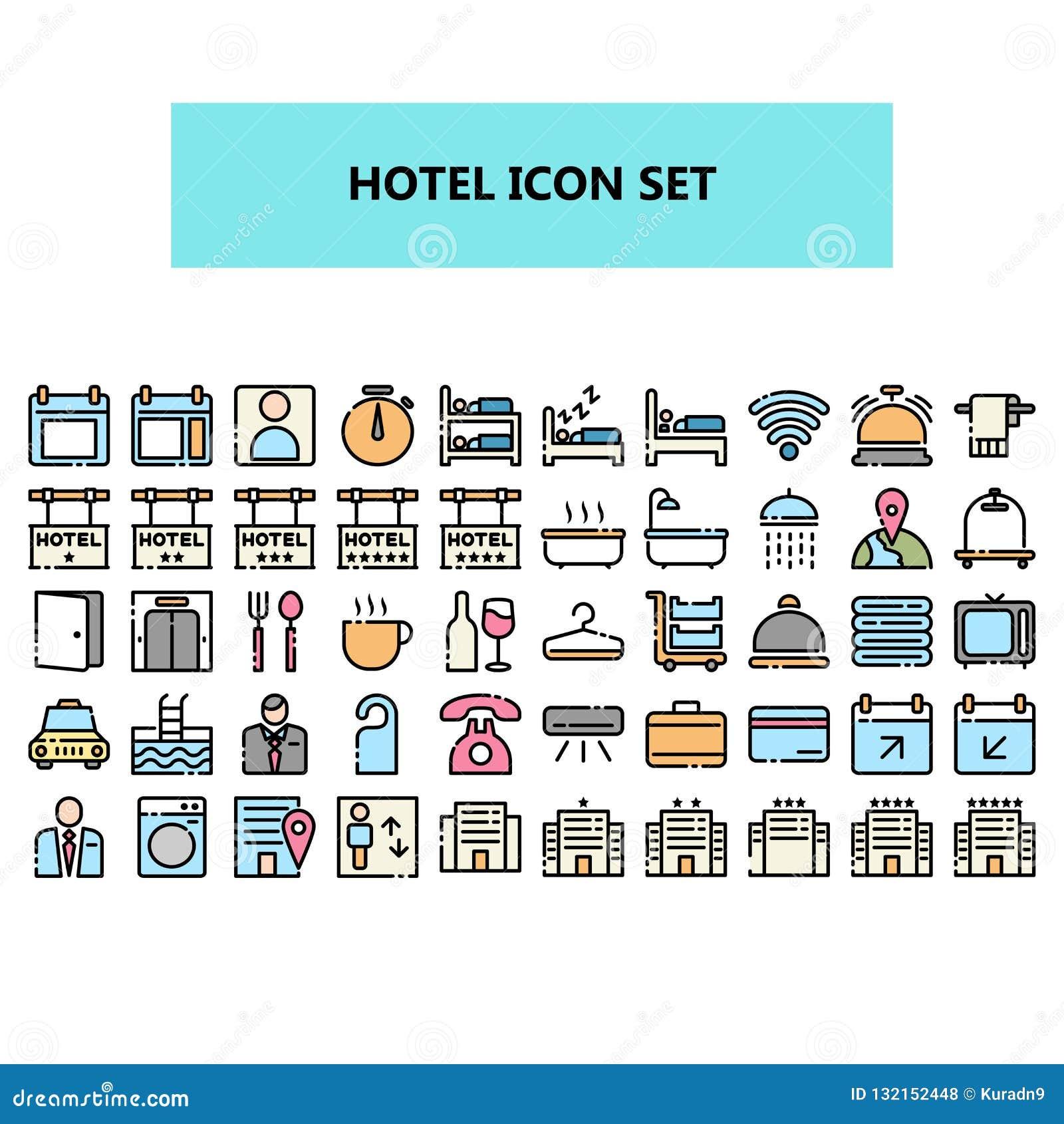 Hotelowa ikona ustawiająca w pikslu doskonalić Wypełniający kontur