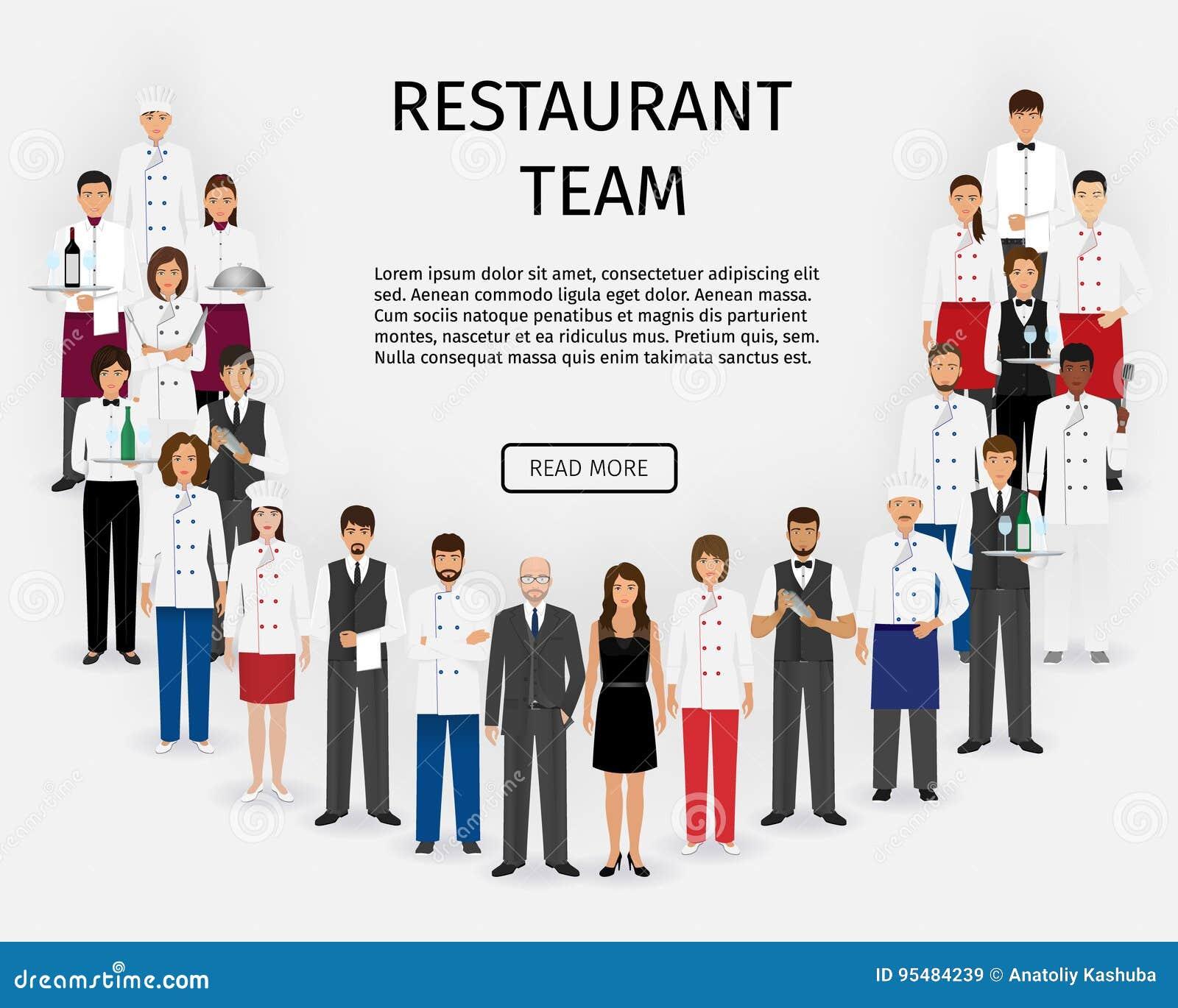 Hotelowa restauraci drużyna Grupa catering usługa charaktery stoi w mundurze Gastronomii strony internetowej pięcioliniowy sztand