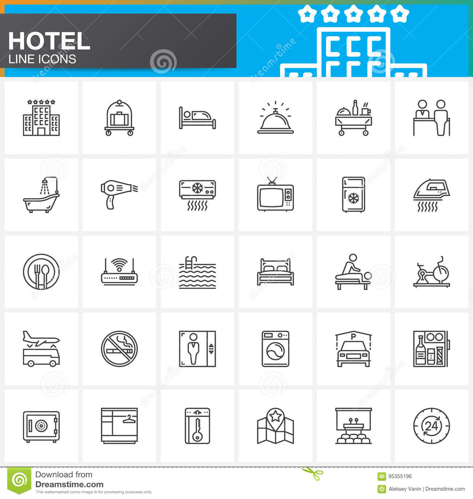 Hotelowe usługa i udostępnienia wykładają ikony ustawiać, konturu symbolu wektorowa kolekcja, liniowa piktogram paczka Znaki, log