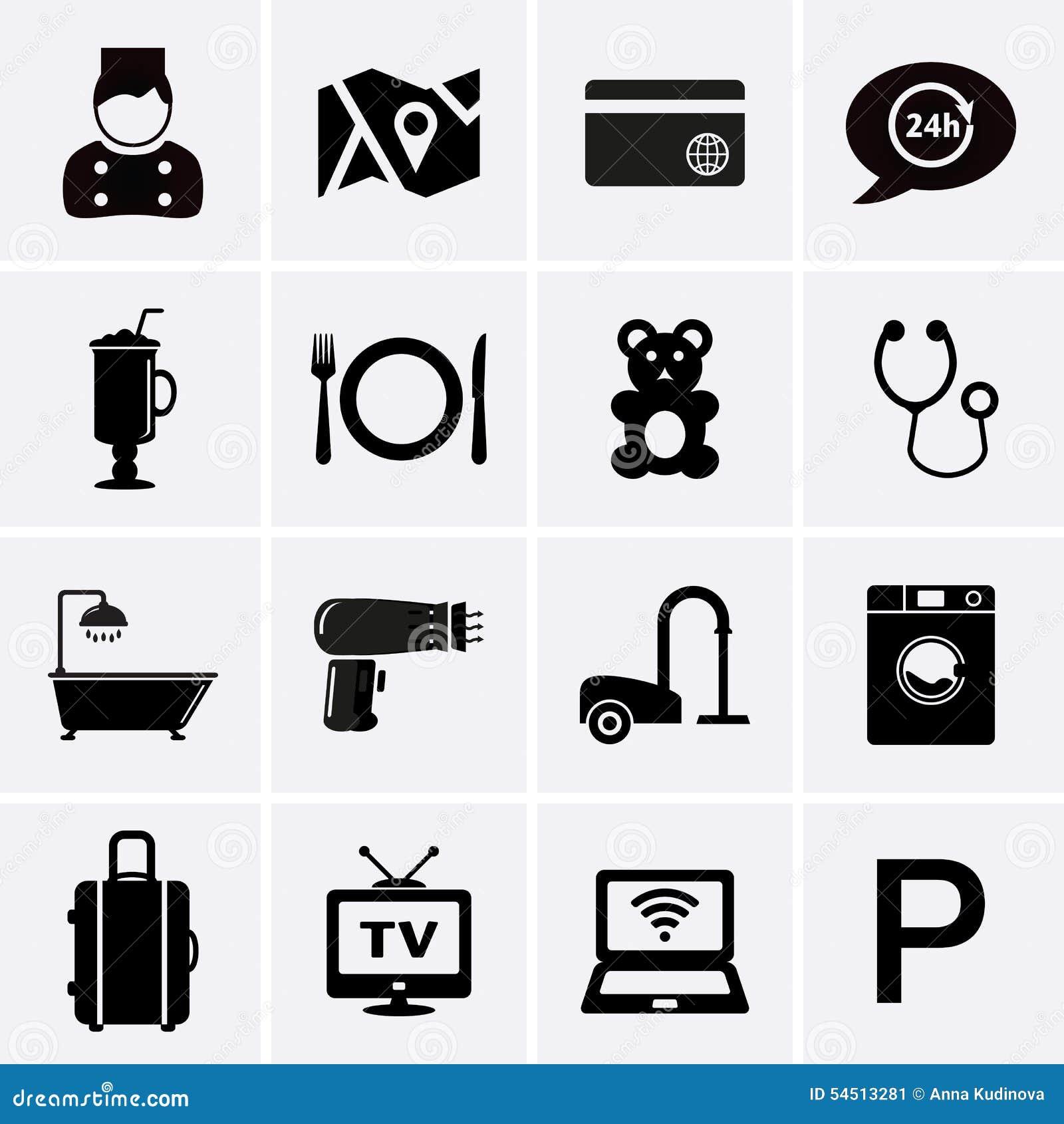 Hotelowe usługa i udostępnienie ikony Set 1