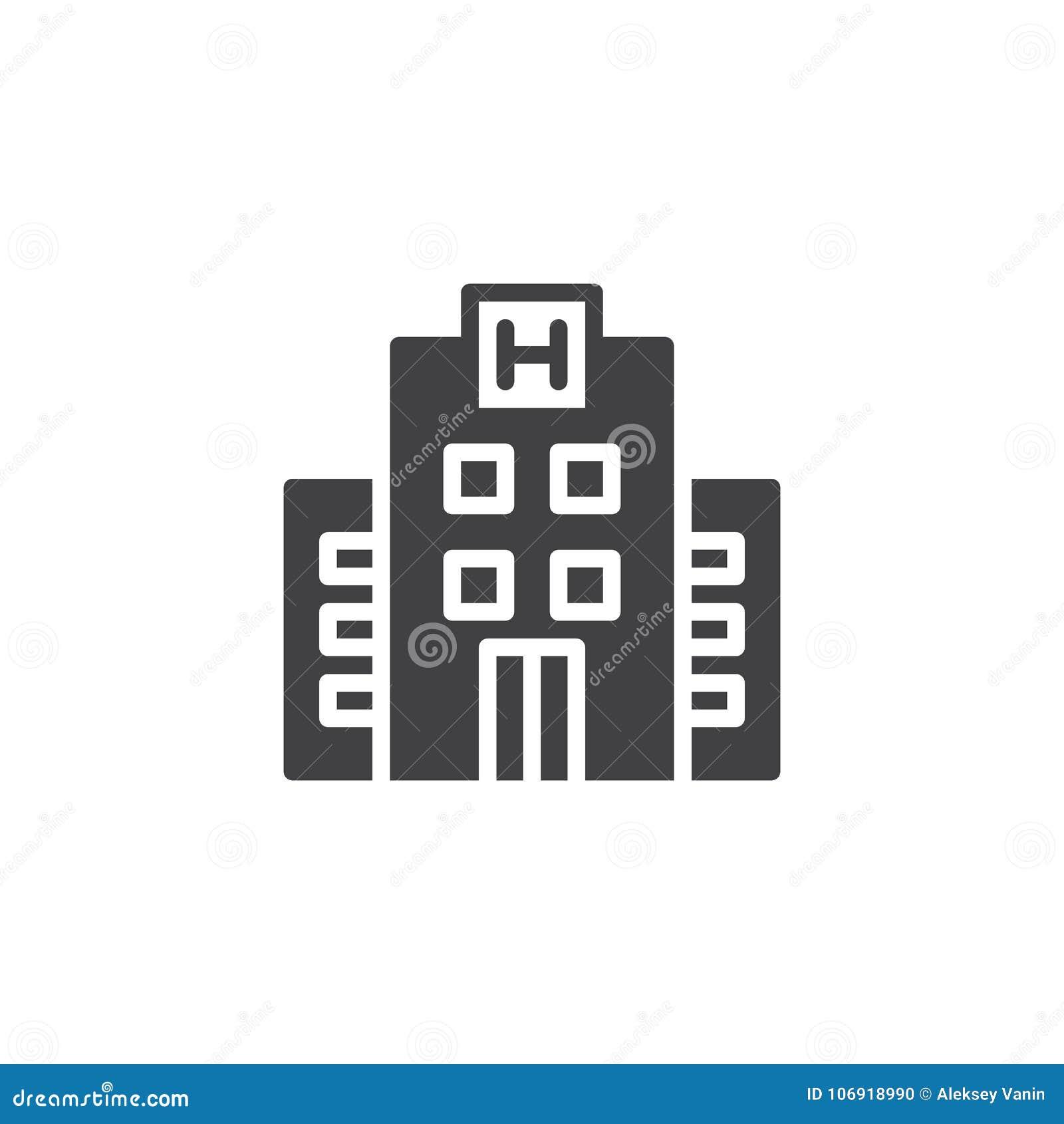 Hotelowy budynek ikony wektor