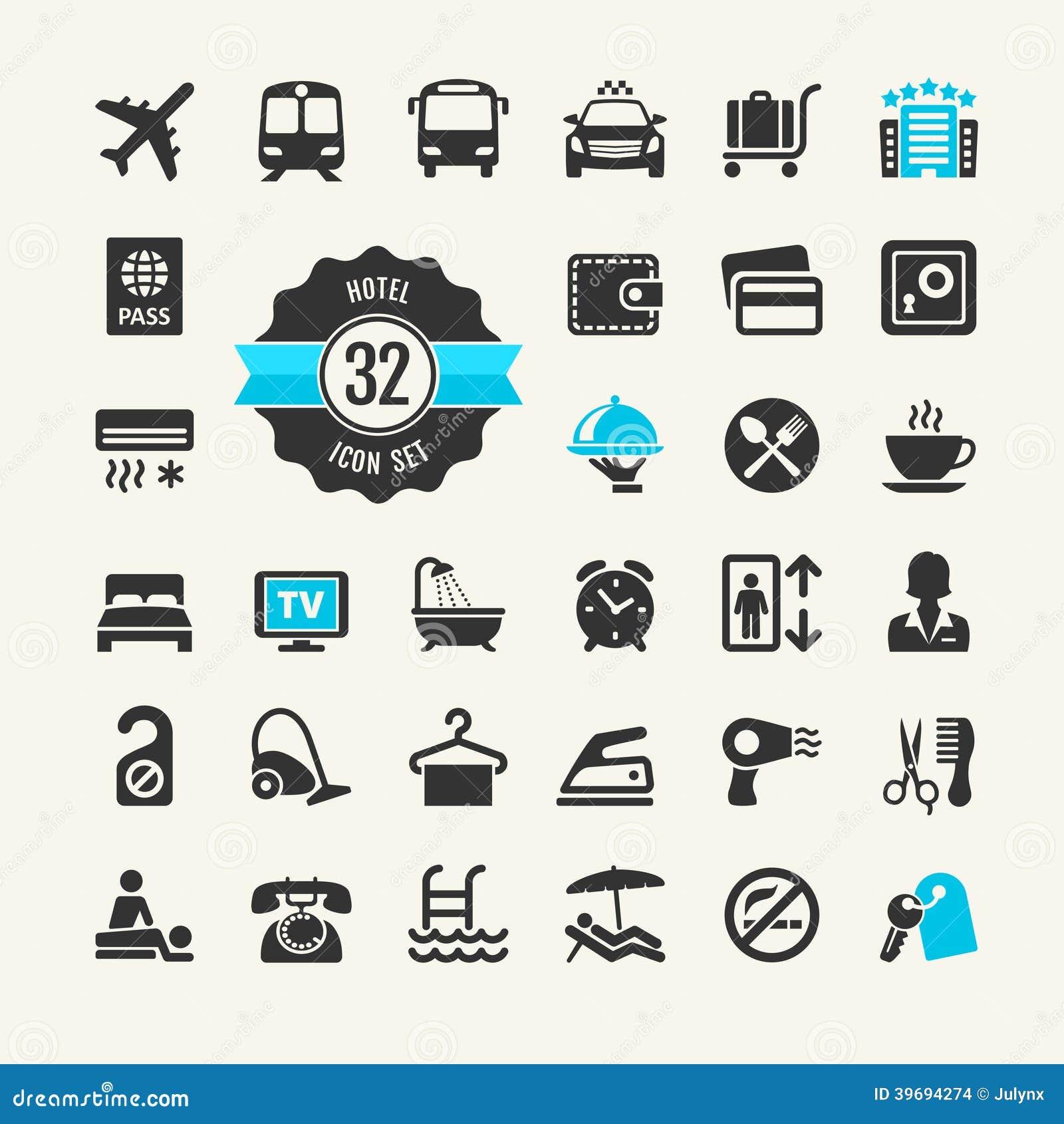 Hotelowy sieci ikony set