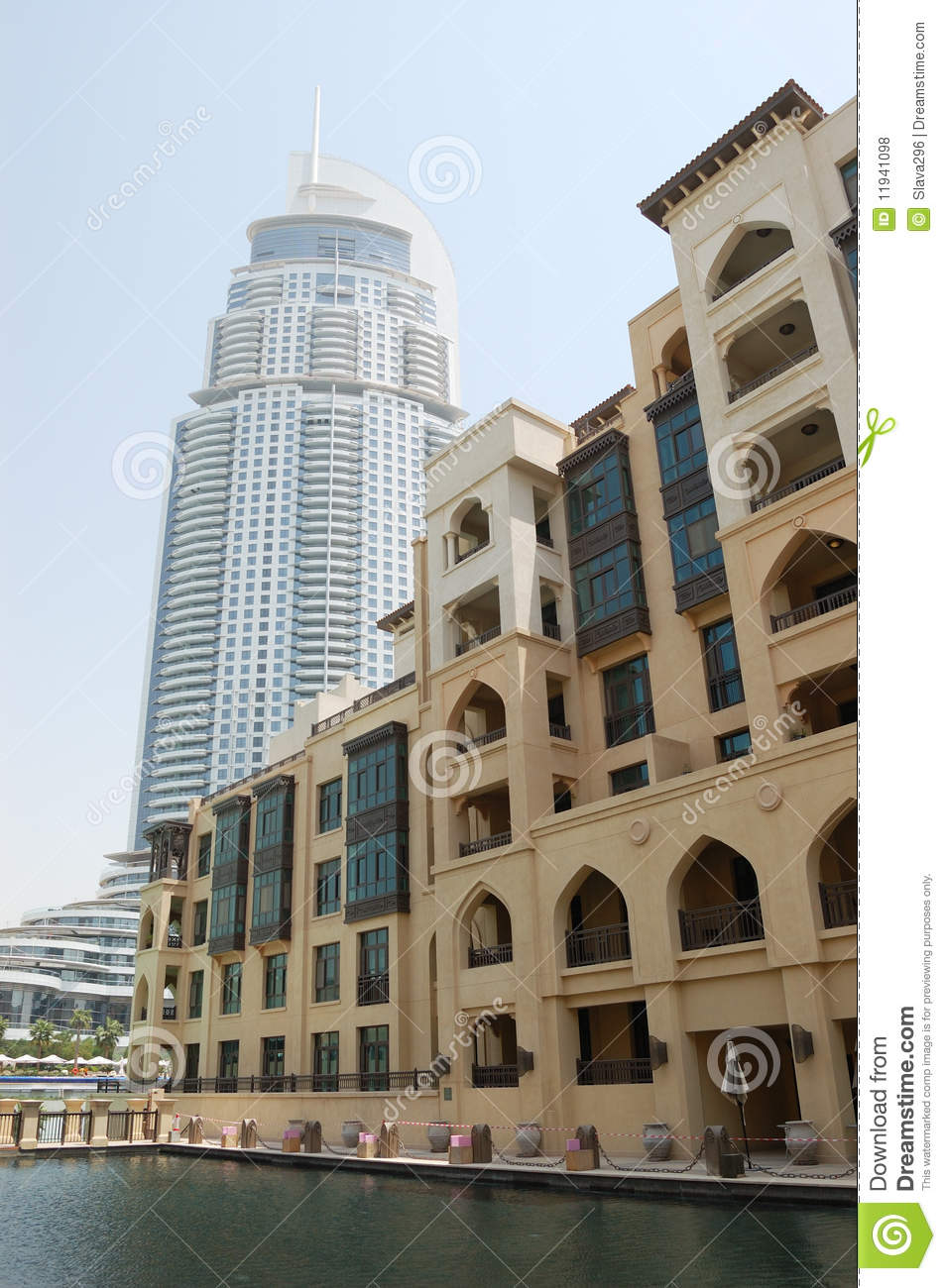 Hotels buildings in dubai downtown uae royalty free stock for Hotels in downtown dubai