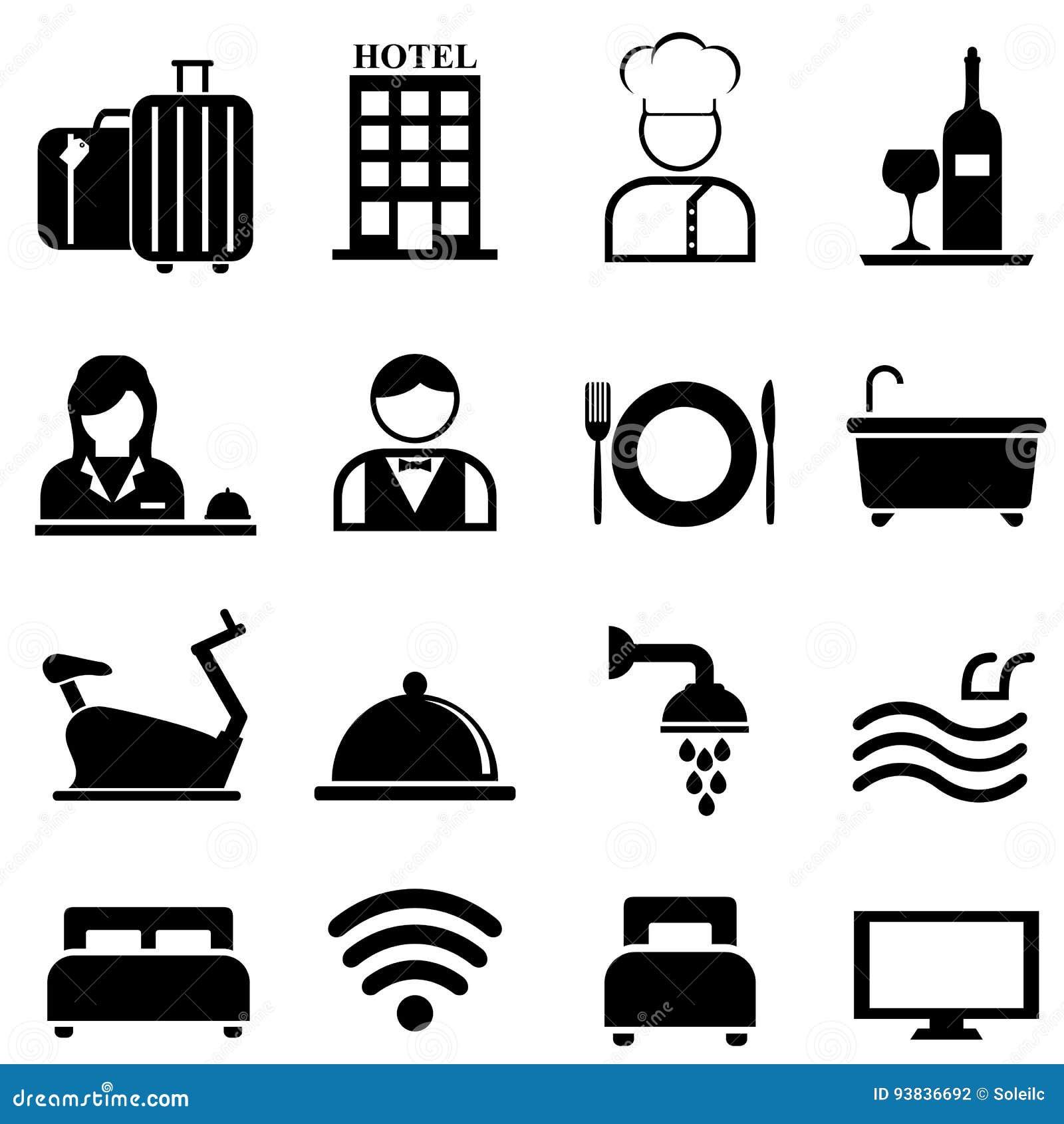 Hotelu, kurortu i gościnności ikony set,