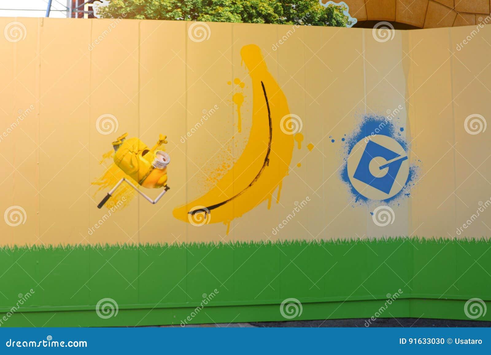 Hoto Of `HAPPY MINION` Wall Art Editorial Image - Image of banana ...