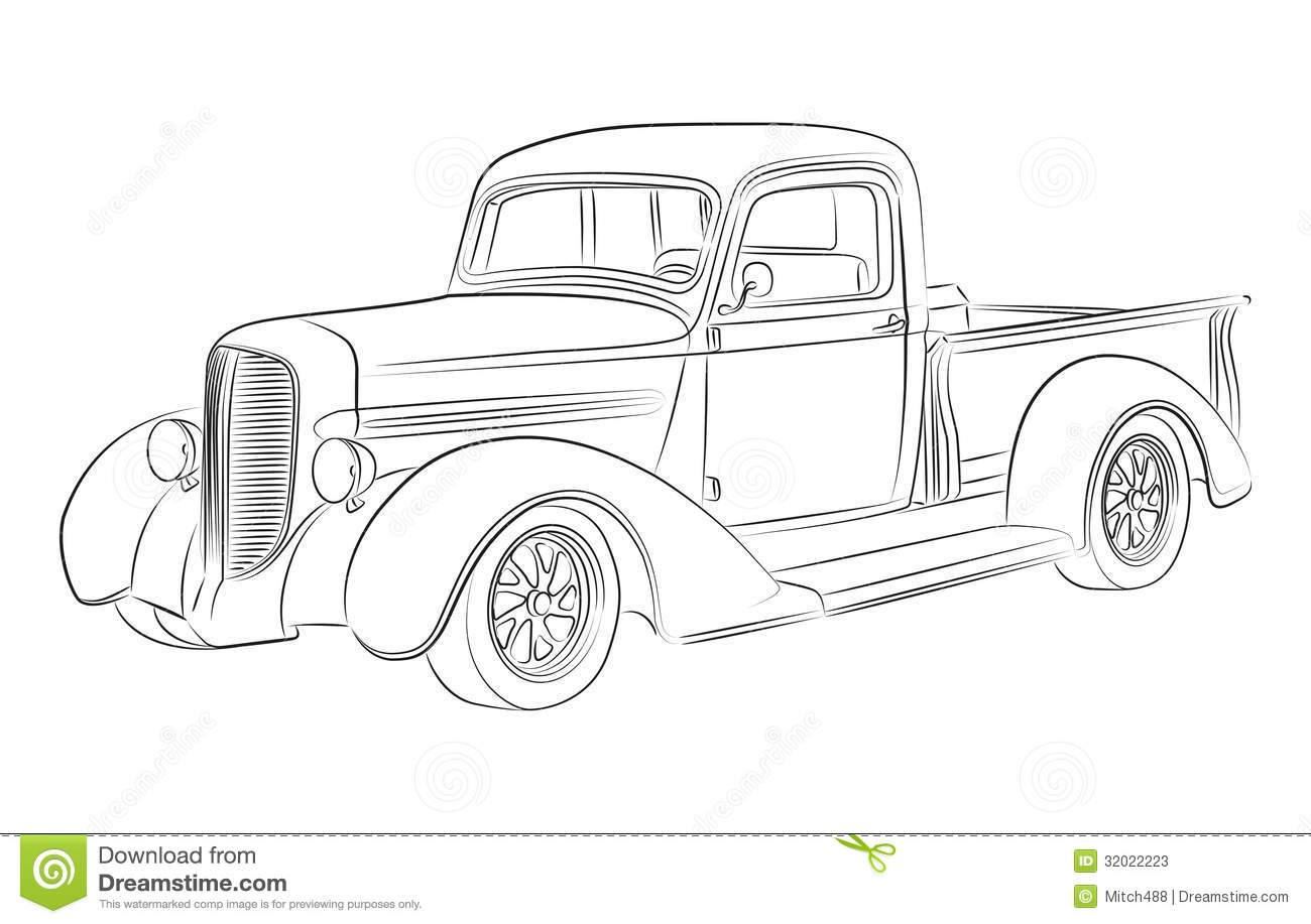 hotrod pickup drawing stock illustration  illustration of