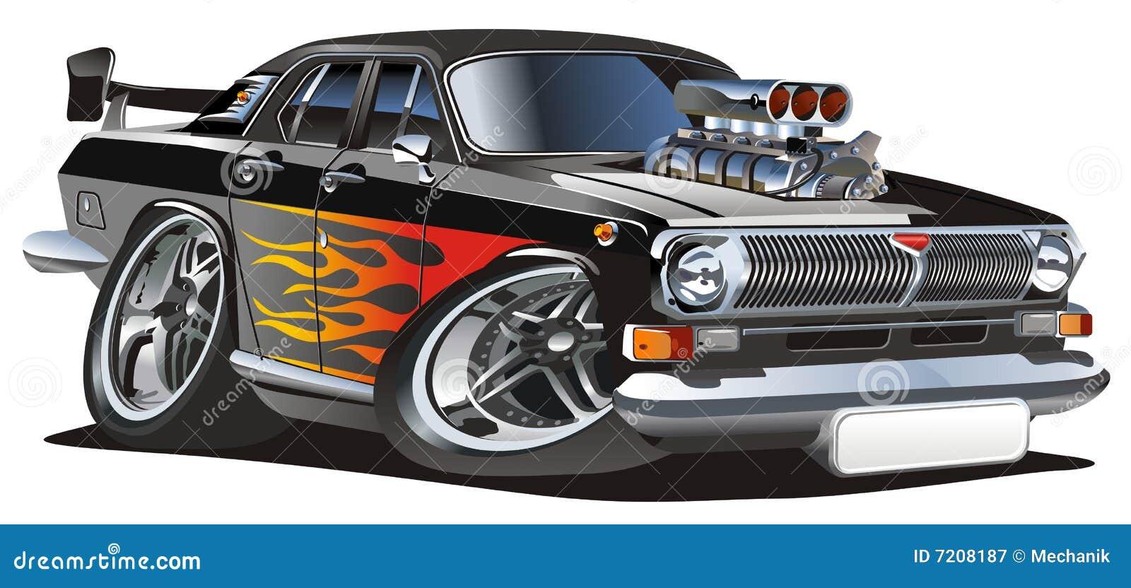 Hotrod retro dos desenhos animados do vetor