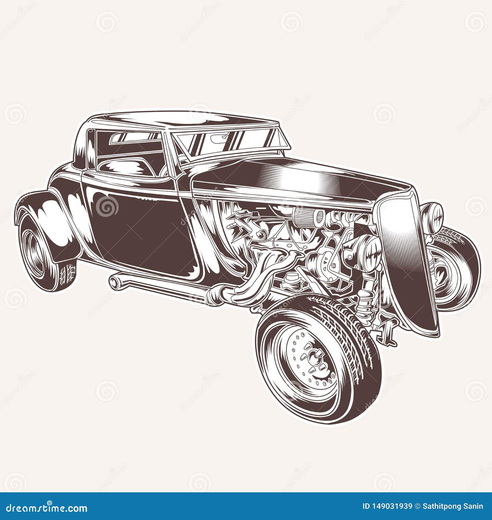 HotRod Samochodowego Klasycznego rocznika logo tshirt silnika ratrodvector projekta wektorowa ilustracja