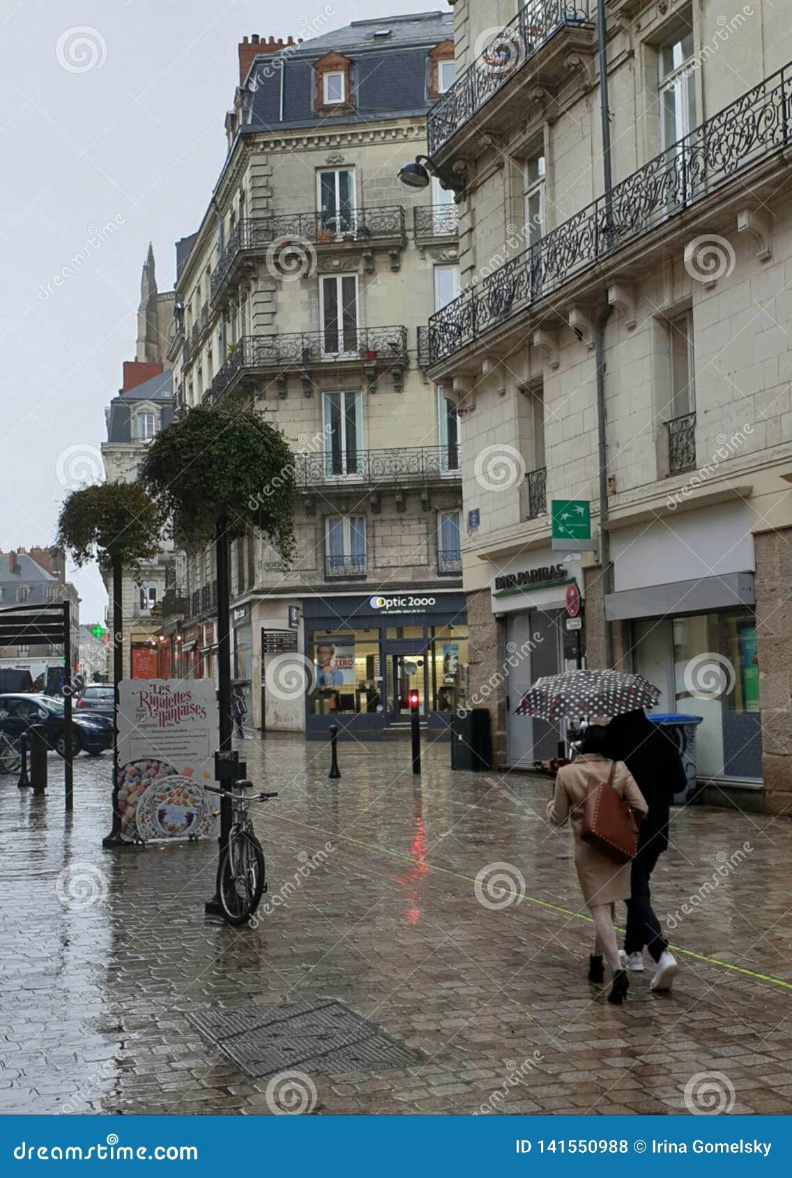 Houdend van paar onder een paraplu op een regenachtige dag in Nantes, Frankrijk