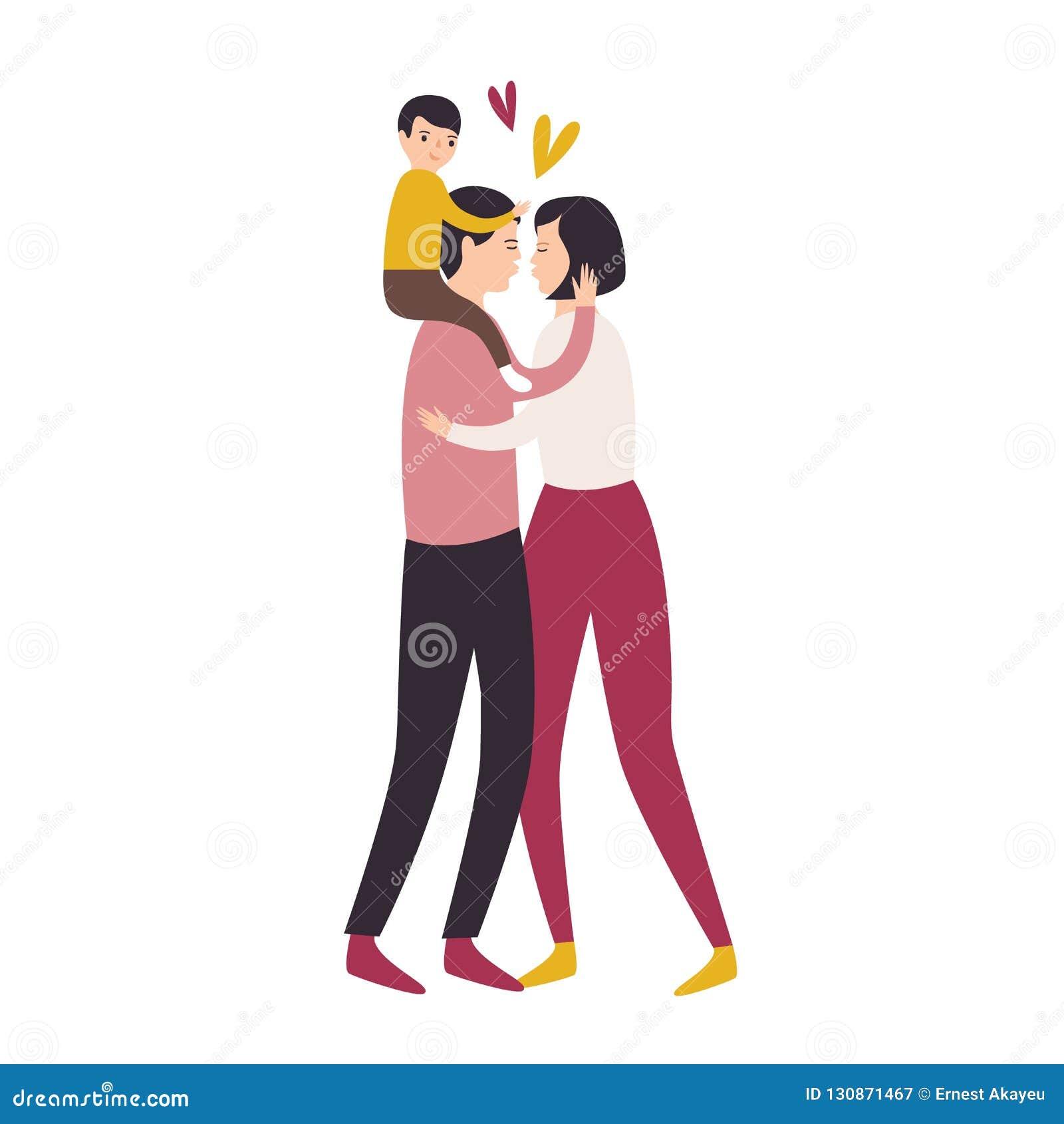 Houdende van familie Zoonszitting op de rug van de vader terwijl zijn en ouders die koesteren kussen Mamma, papa en kind Aanbidde
