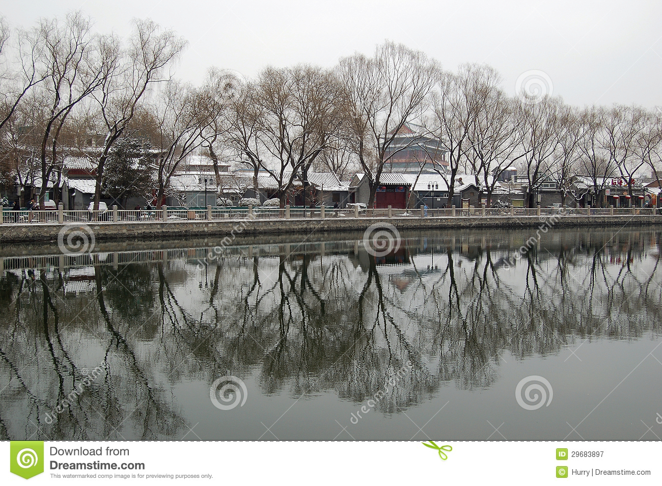 Houhai after snow in early spring