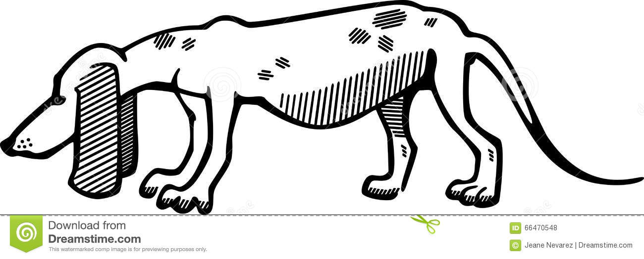 Line Drawing Ear : Hound dog stock vector illustration of droopy breed