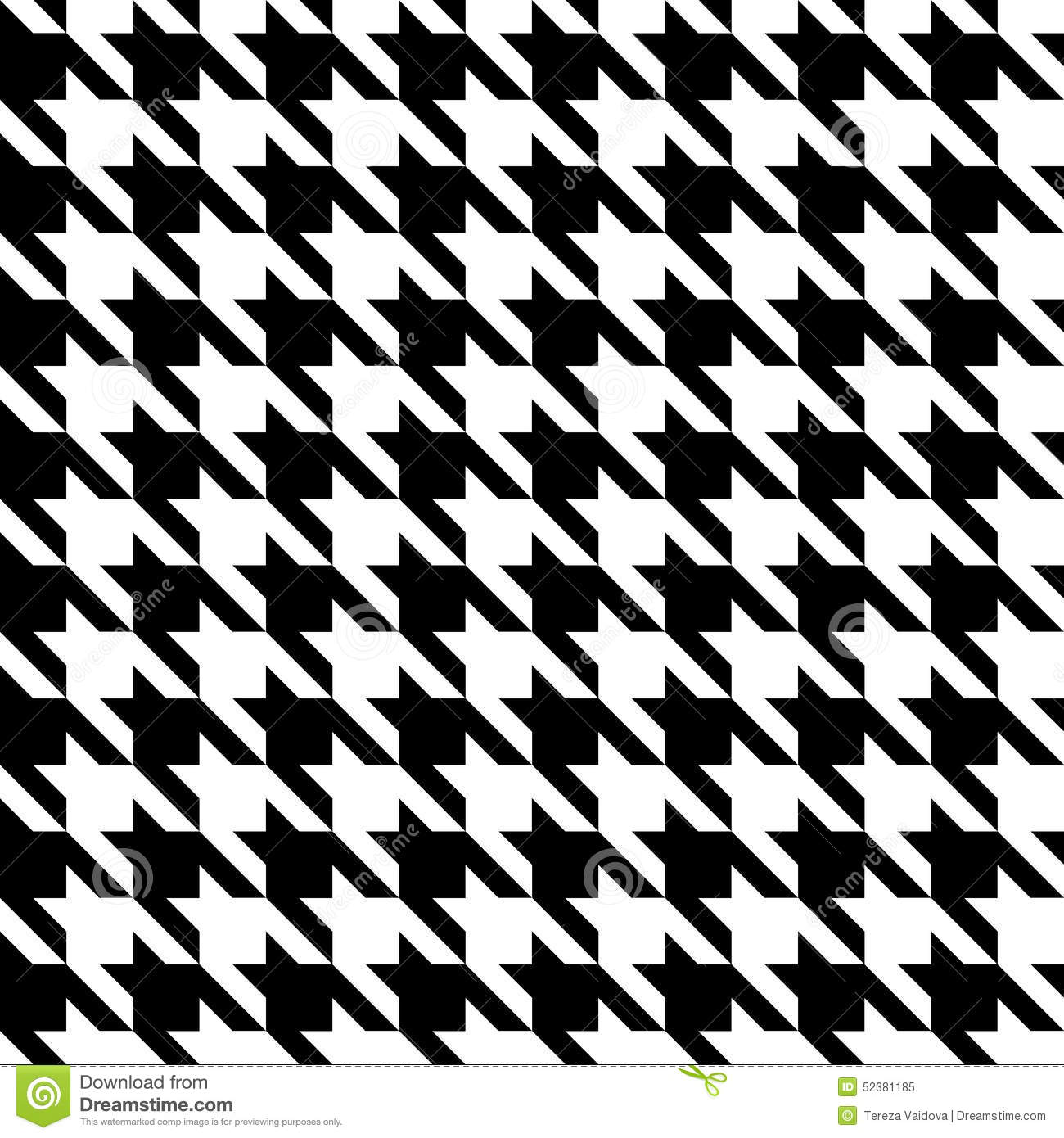 Houndstooth Check Black White Fabric Pattern Texture Stock Vector