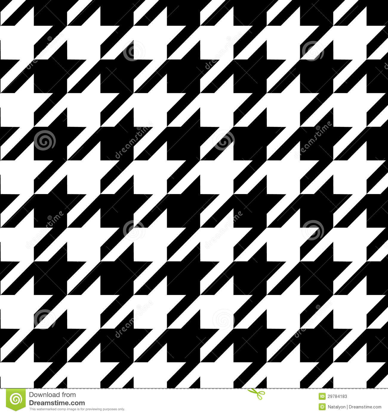 Houndstooth seamless pattern black and white, vector