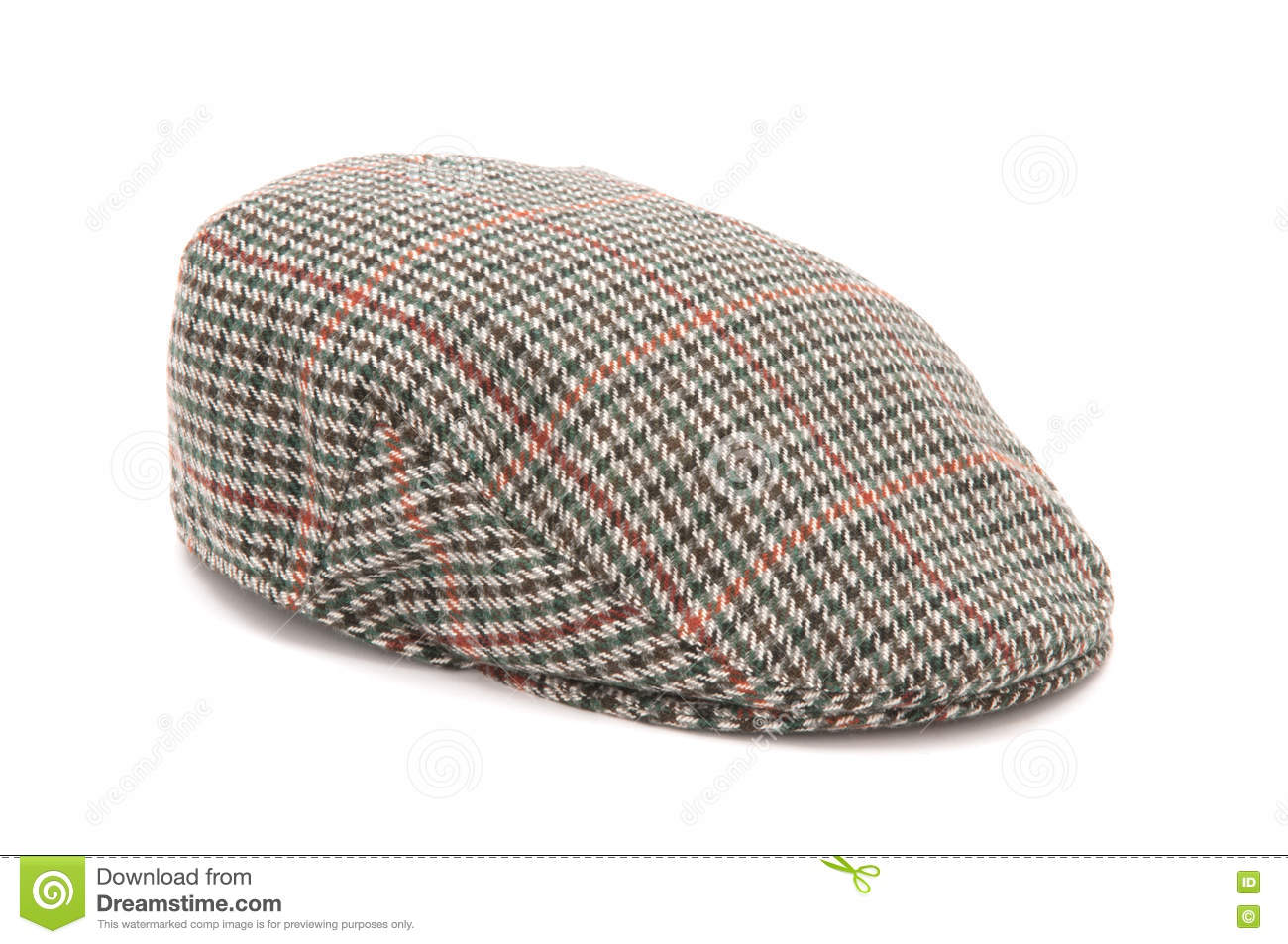 10432ed5840 Houndstooth Tweed Hunting Flat Cap Stock Image - Image of isolated ...