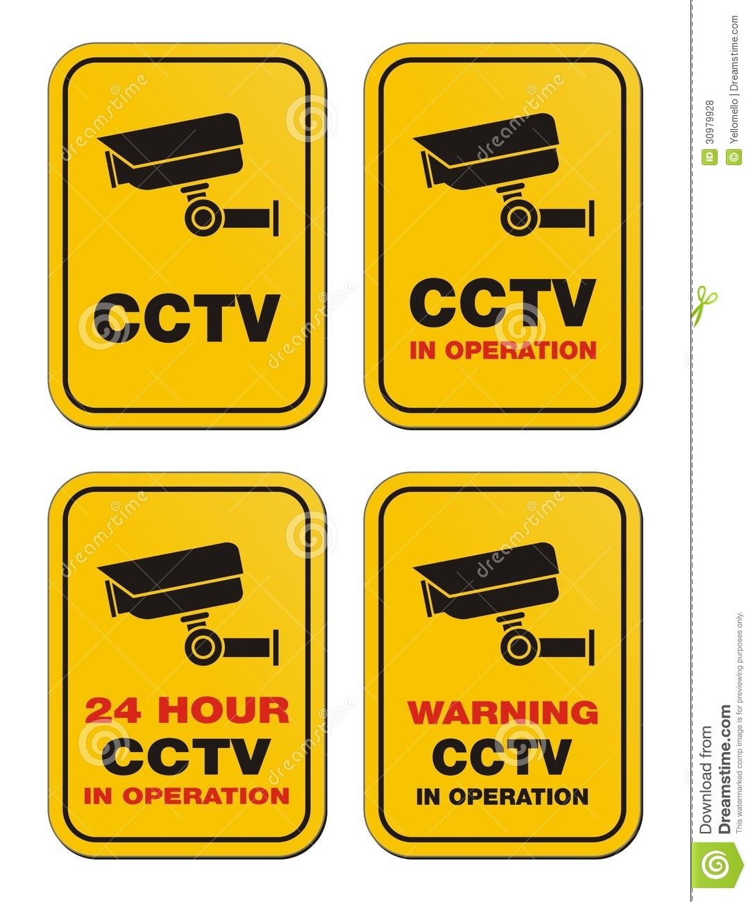 24 Hour Cctv In Operation Yellow Signs Royalty Free
