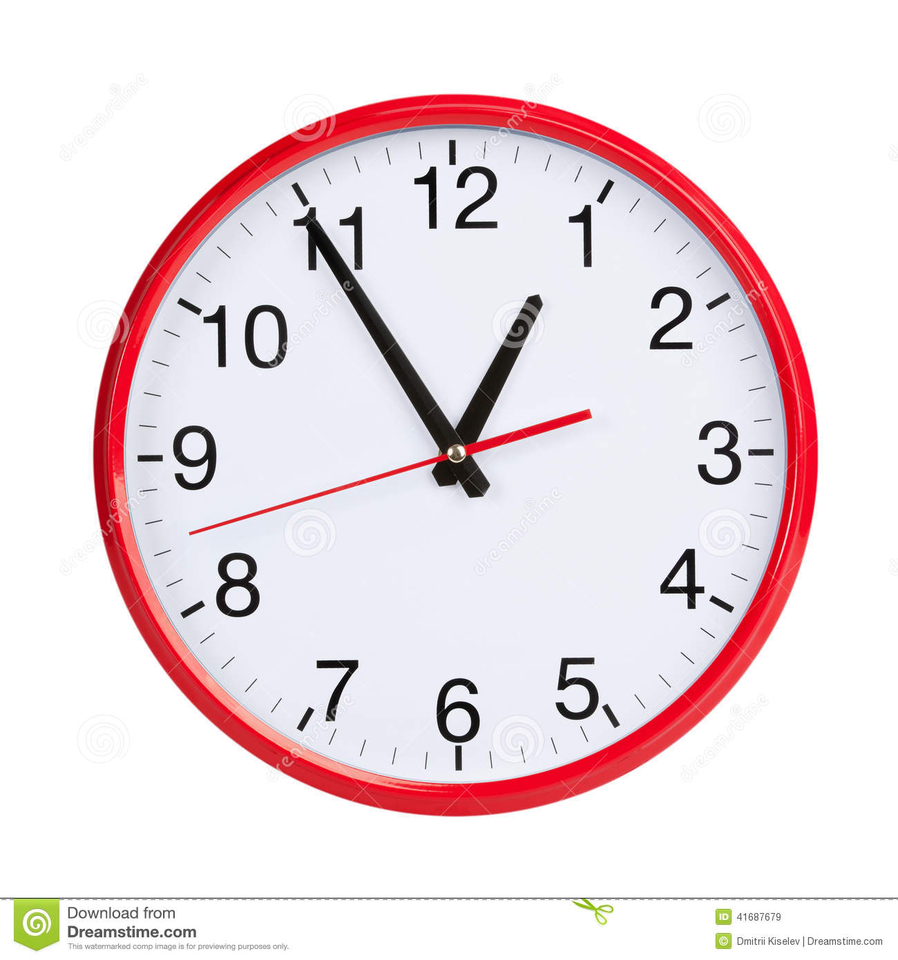 hour round clock face red 41687679