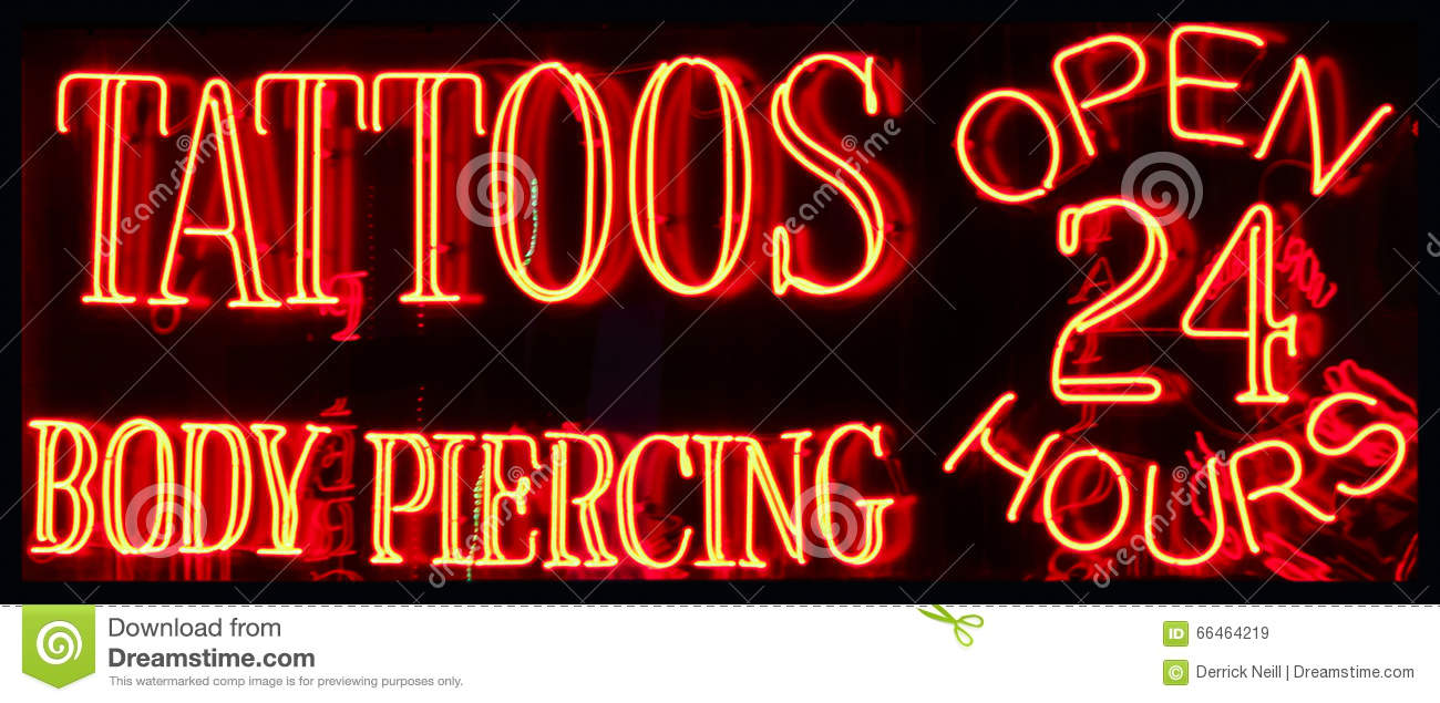 A 24 Hour Tattoo Parlor Neon Sign Stock Image , Image of