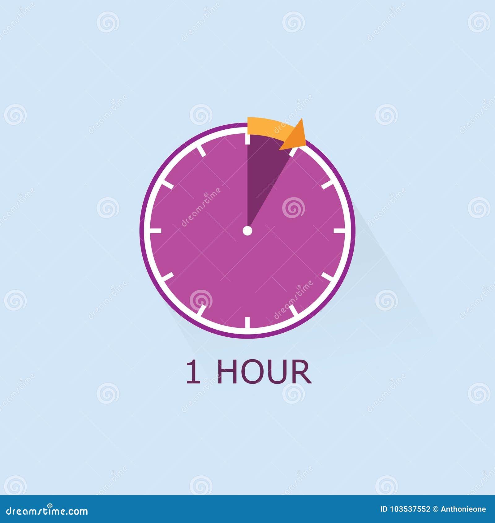 1 Hour Timer Icon With Orange Arrow Illustration On Blue Background
