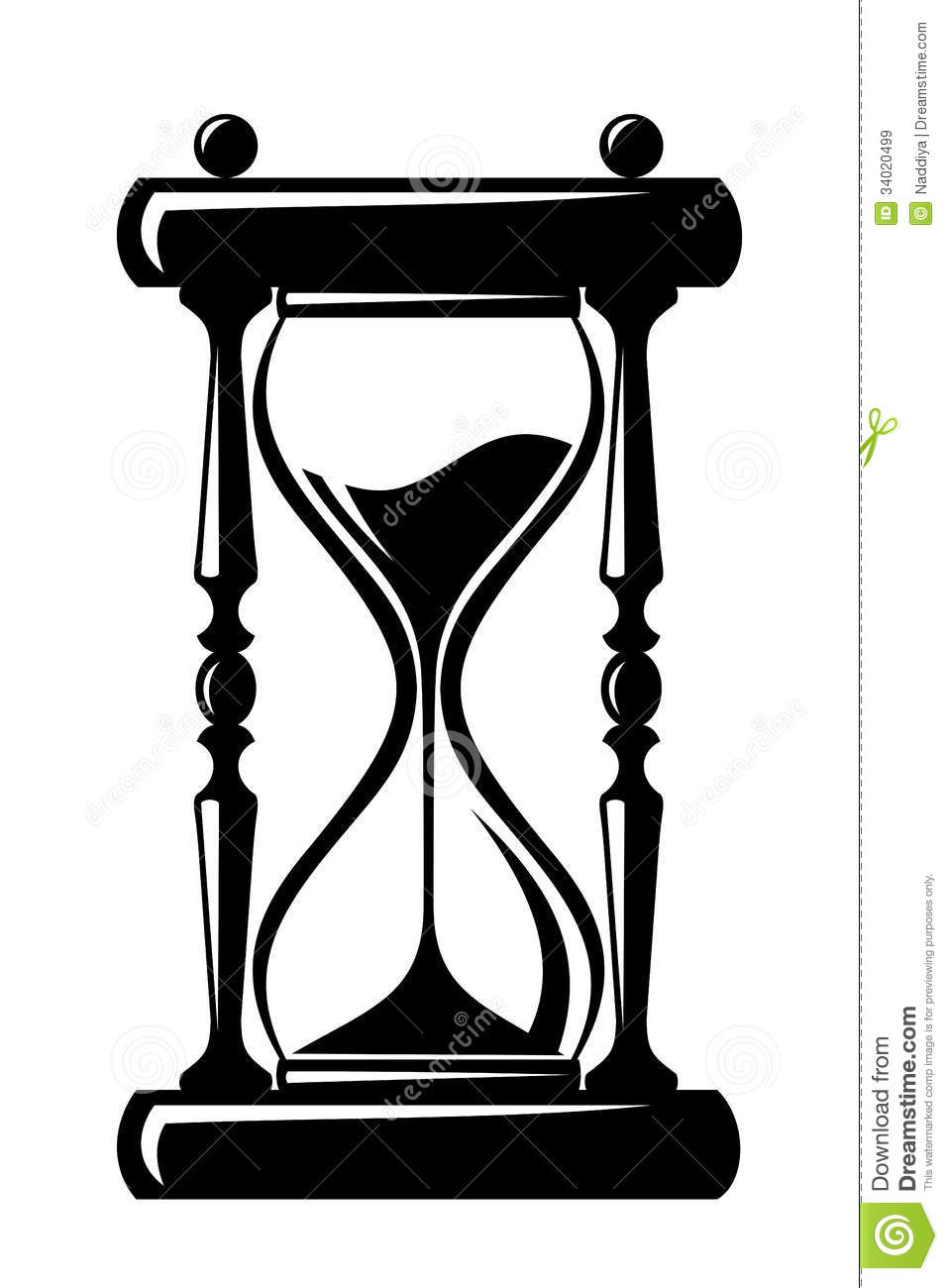 Hourglass. Black Silhouette. Royalty Free Stock Images - Image ...