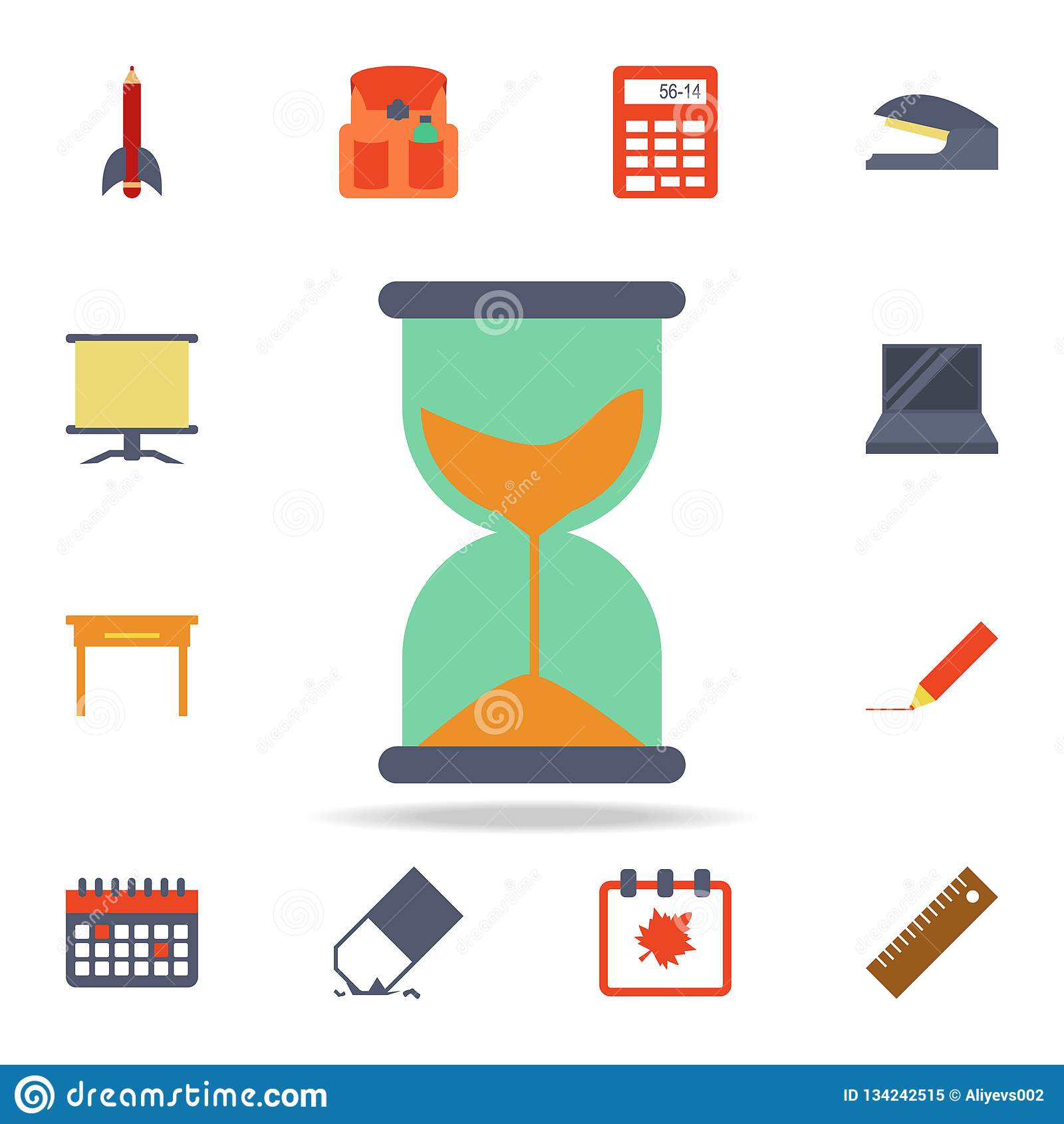hourglass colored icon. Detailed set of colored education icons. Premium graphic design. One of the collection icons for websites