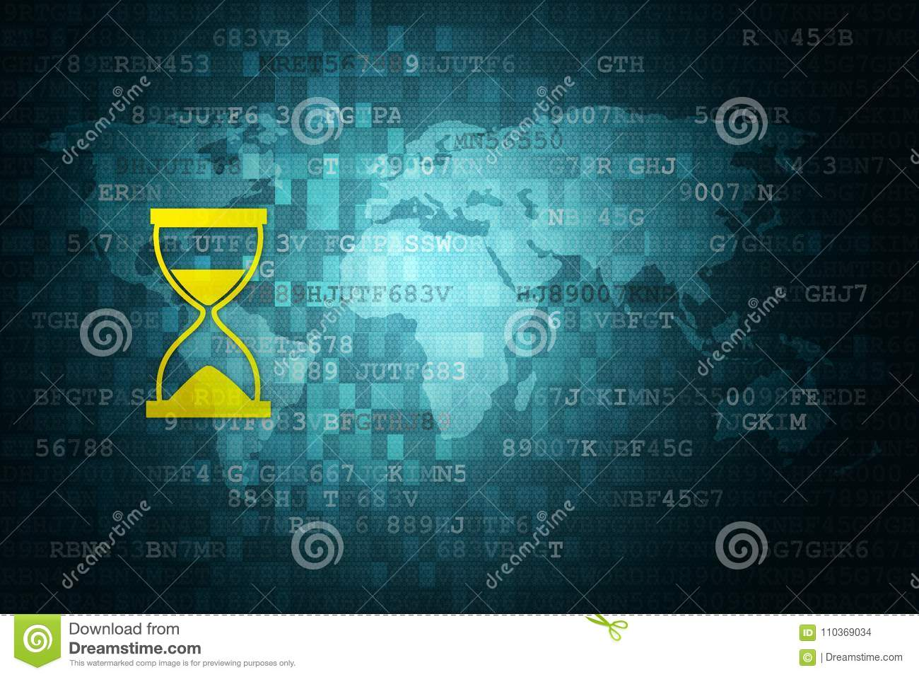 Hourglass icon on blue digital background with world map time download hourglass icon on blue digital background with world map time concept copy space gumiabroncs Gallery