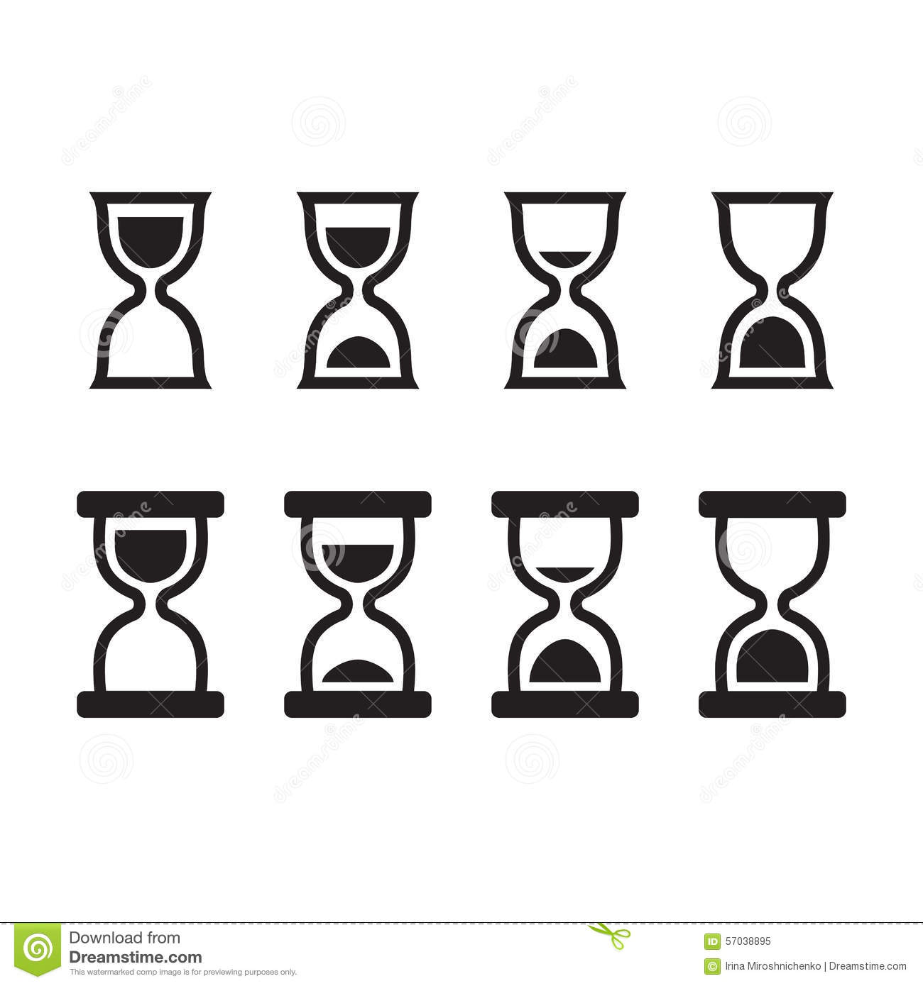 Set of hourglass icons in two styles, four states of sand position ...